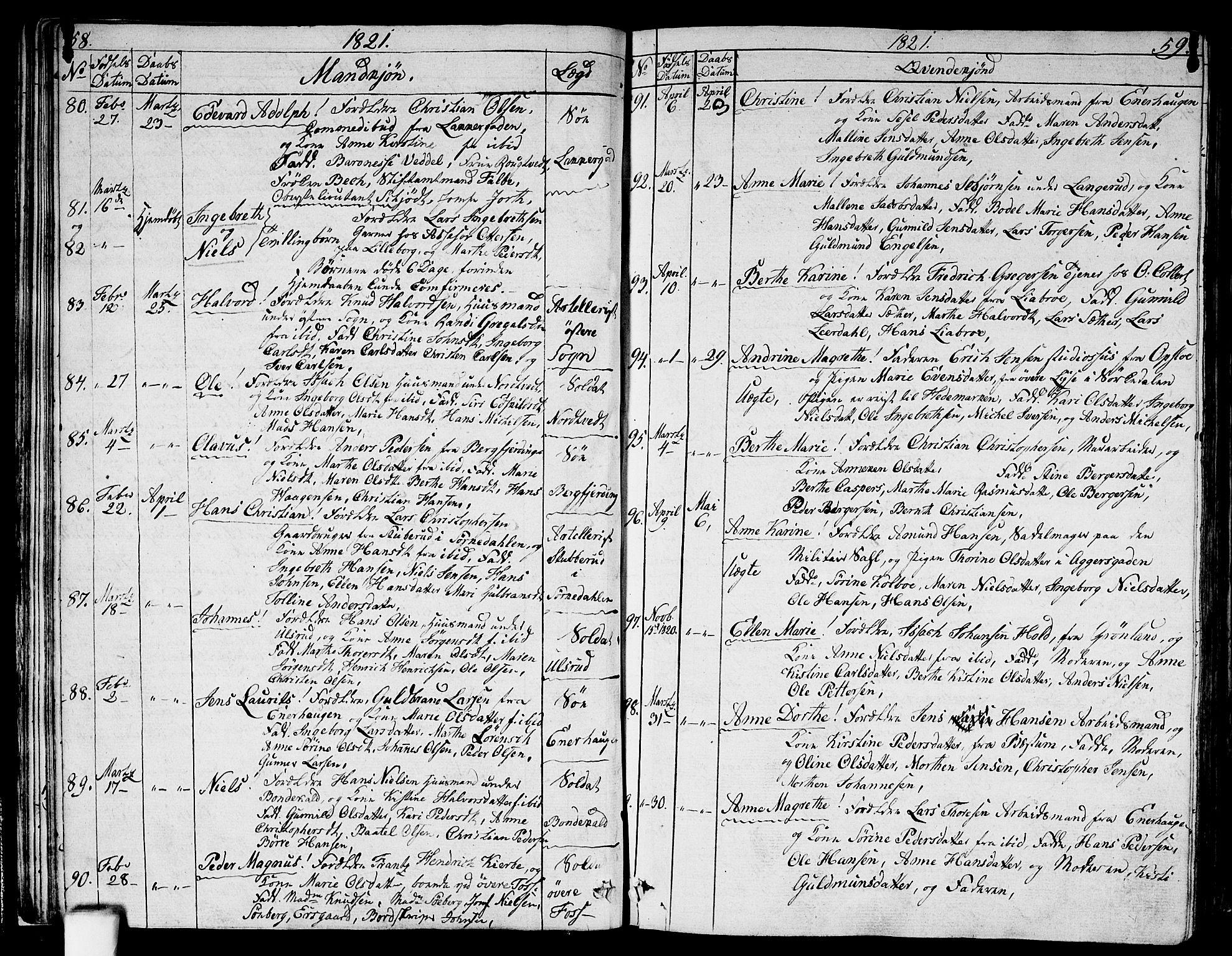 SAO, Aker prestekontor kirkebøker, G/L0004: Klokkerbok nr. 4, 1819-1829, s. 58-59
