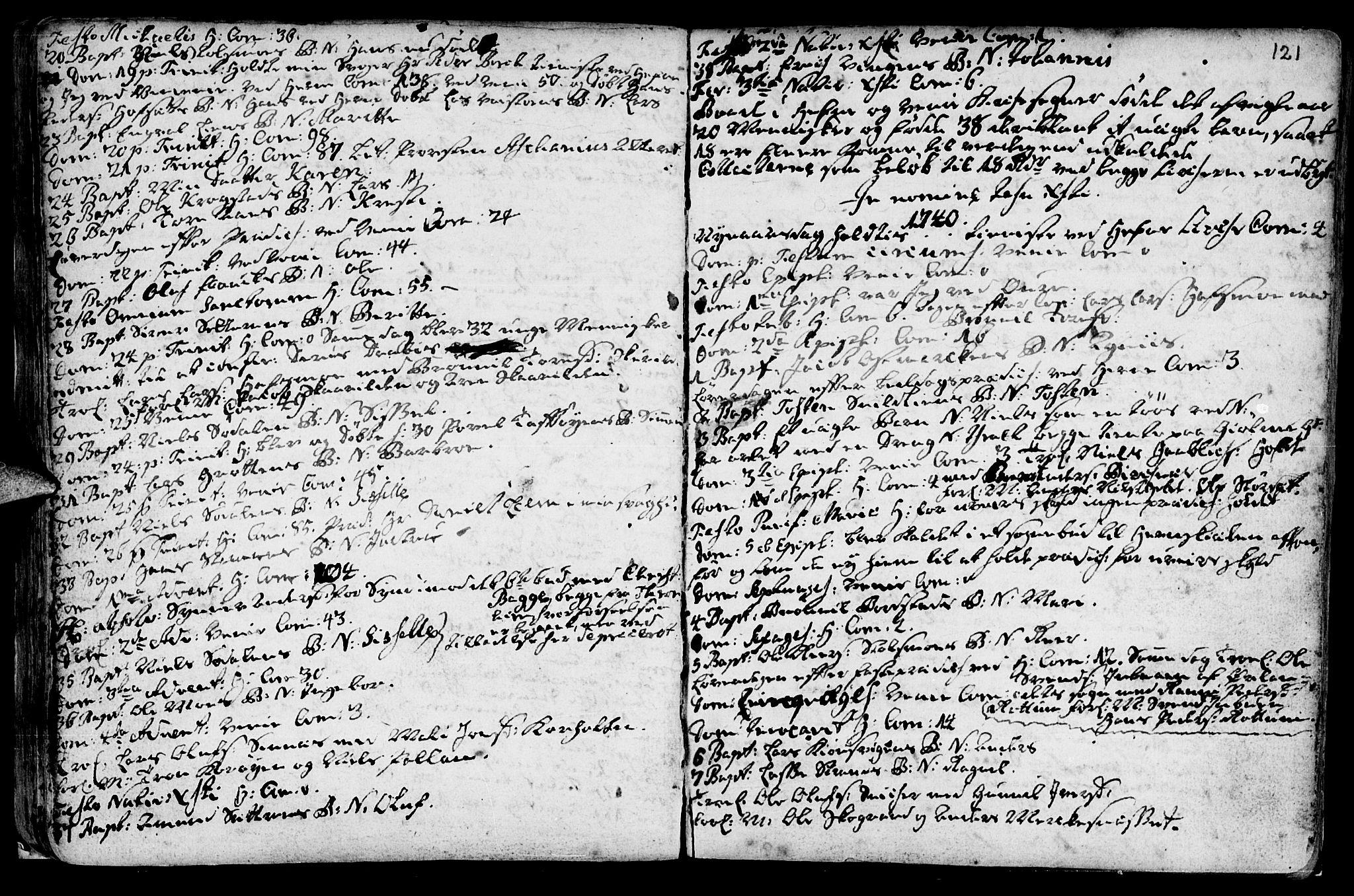 SAT, Ministerialprotokoller, klokkerbøker og fødselsregistre - Sør-Trøndelag, 630/L0488: Ministerialbok nr. 630A01, 1717-1756, s. 120-121