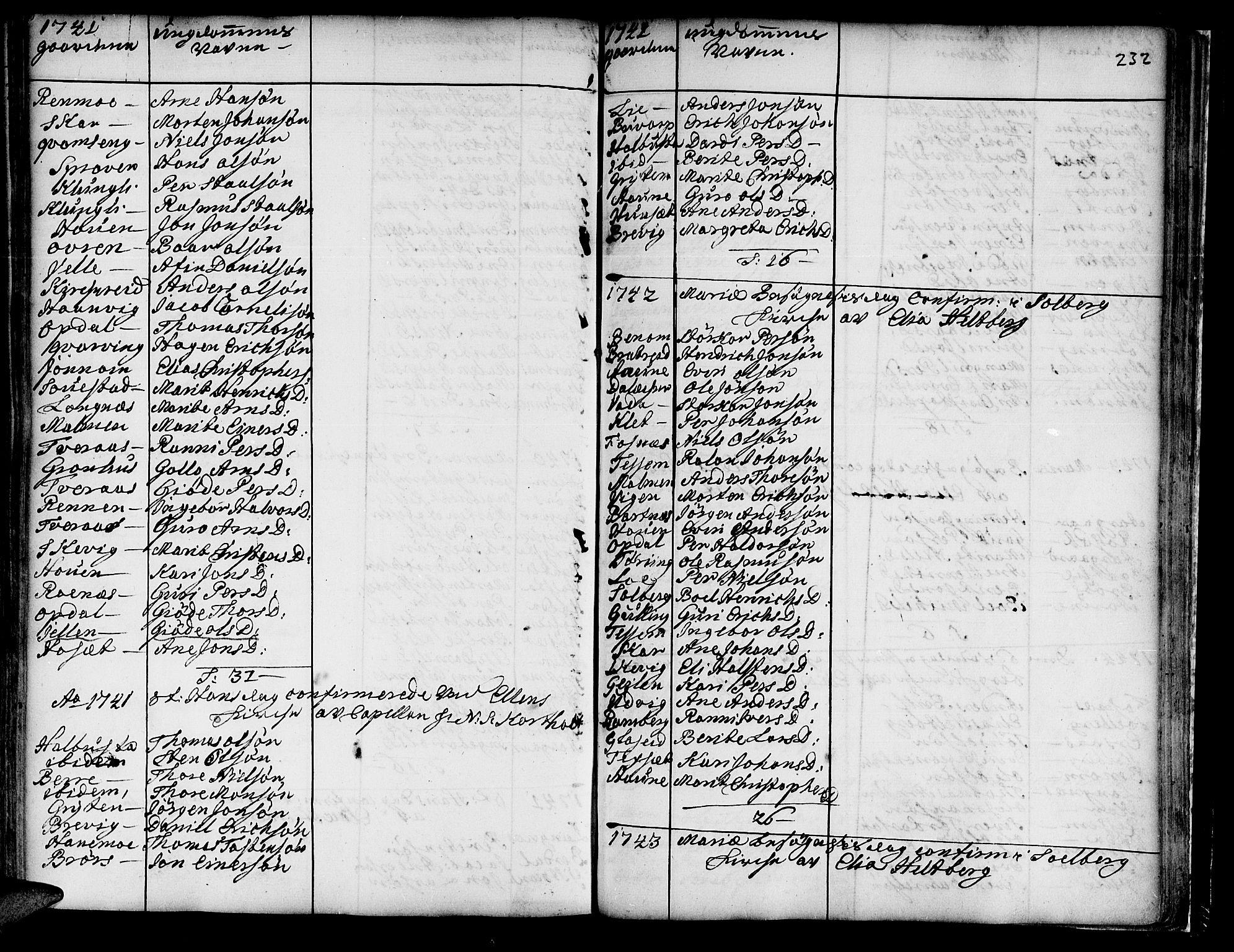 SAT, Ministerialprotokoller, klokkerbøker og fødselsregistre - Nord-Trøndelag, 741/L0385: Ministerialbok nr. 741A01, 1722-1815, s. 232