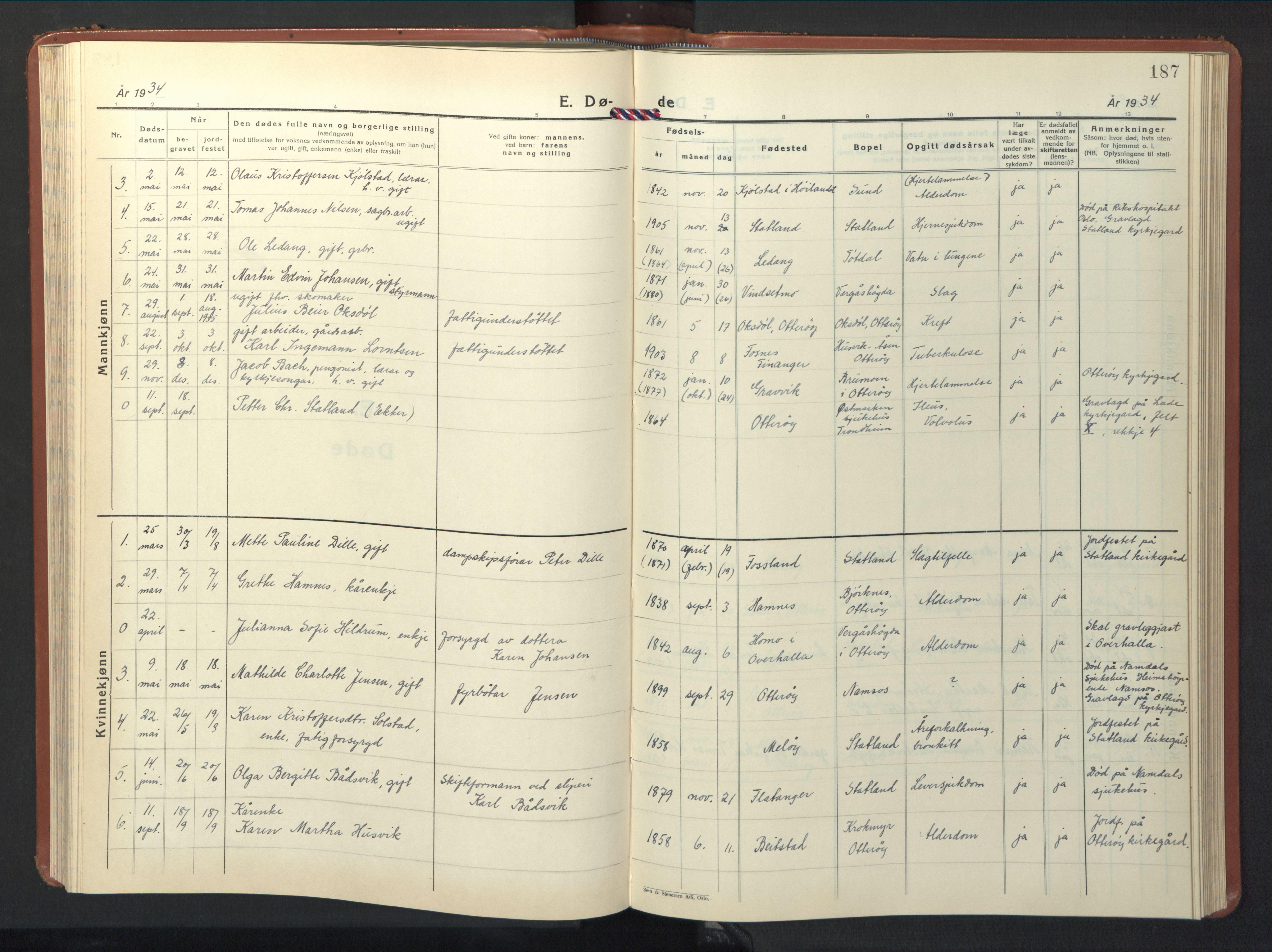 SAT, Ministerialprotokoller, klokkerbøker og fødselsregistre - Nord-Trøndelag, 774/L0631: Klokkerbok nr. 774C02, 1934-1950, s. 187