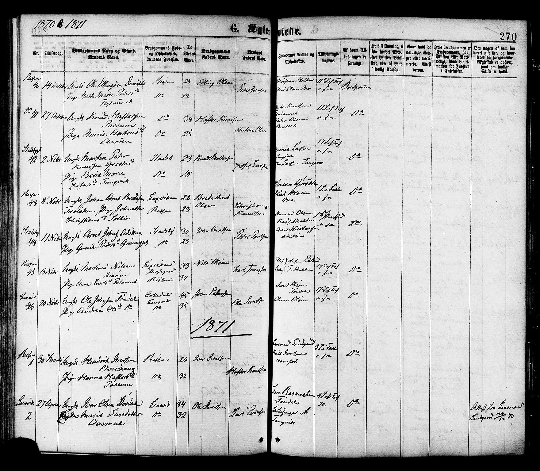SAT, Ministerialprotokoller, klokkerbøker og fødselsregistre - Sør-Trøndelag, 646/L0613: Ministerialbok nr. 646A11, 1870-1884, s. 270