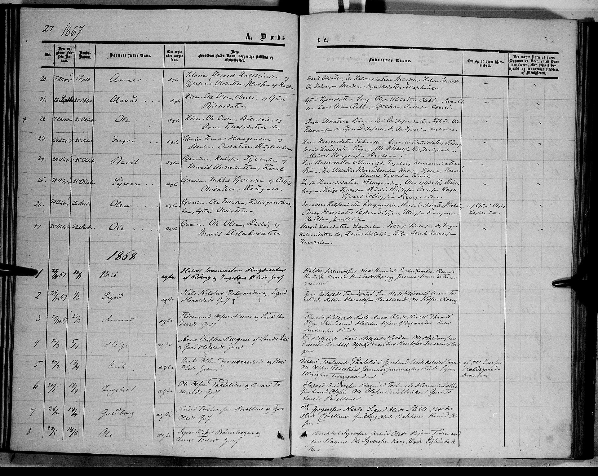 SAH, Sør-Aurdal prestekontor, Ministerialbok nr. 6, 1849-1876, s. 27