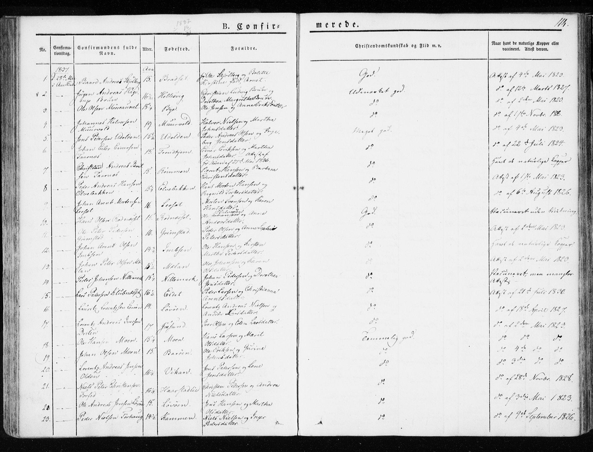 SAT, Ministerialprotokoller, klokkerbøker og fødselsregistre - Sør-Trøndelag, 655/L0676: Ministerialbok nr. 655A05, 1830-1847, s. 114