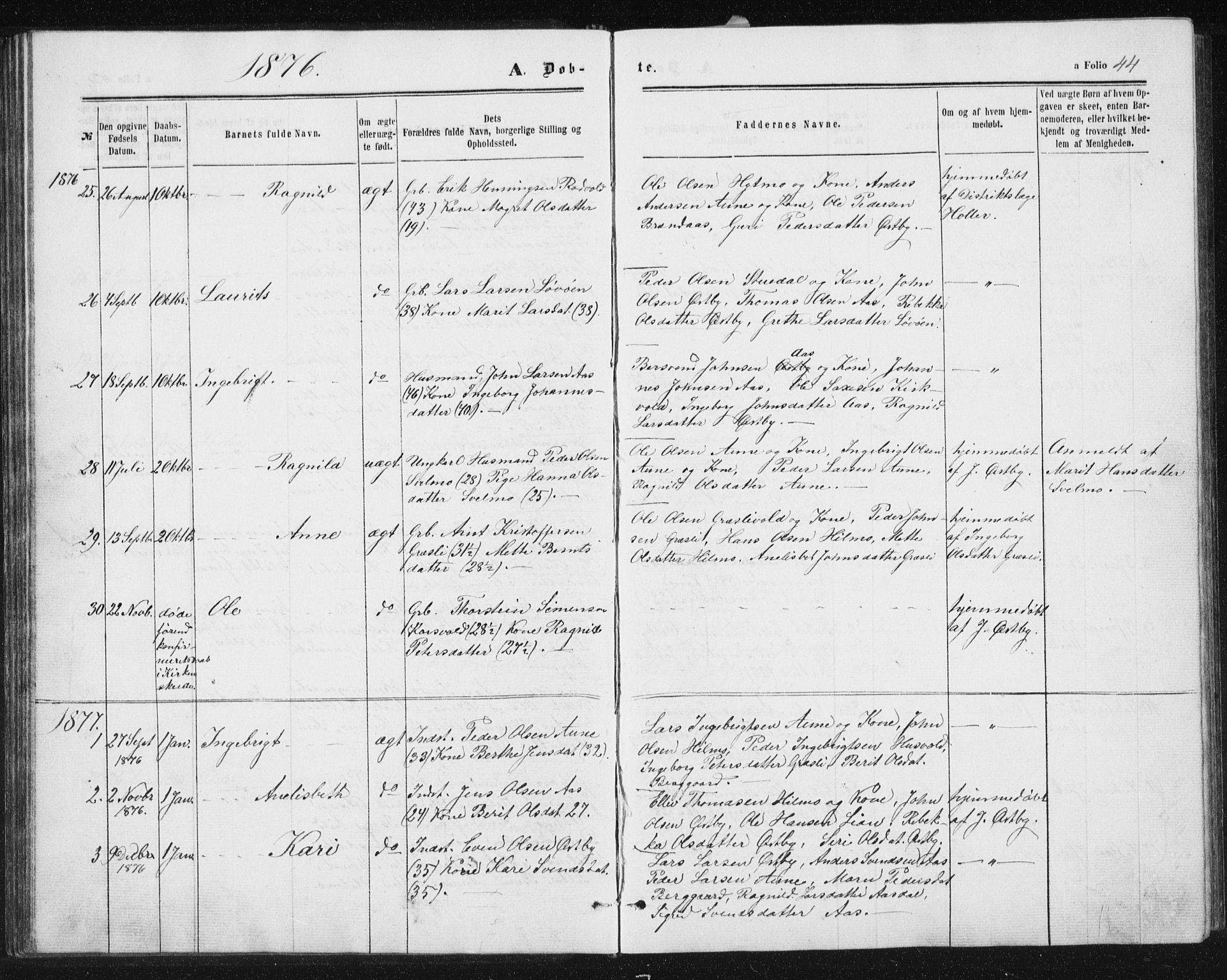 SAT, Ministerialprotokoller, klokkerbøker og fødselsregistre - Sør-Trøndelag, 698/L1166: Klokkerbok nr. 698C03, 1861-1887, s. 44