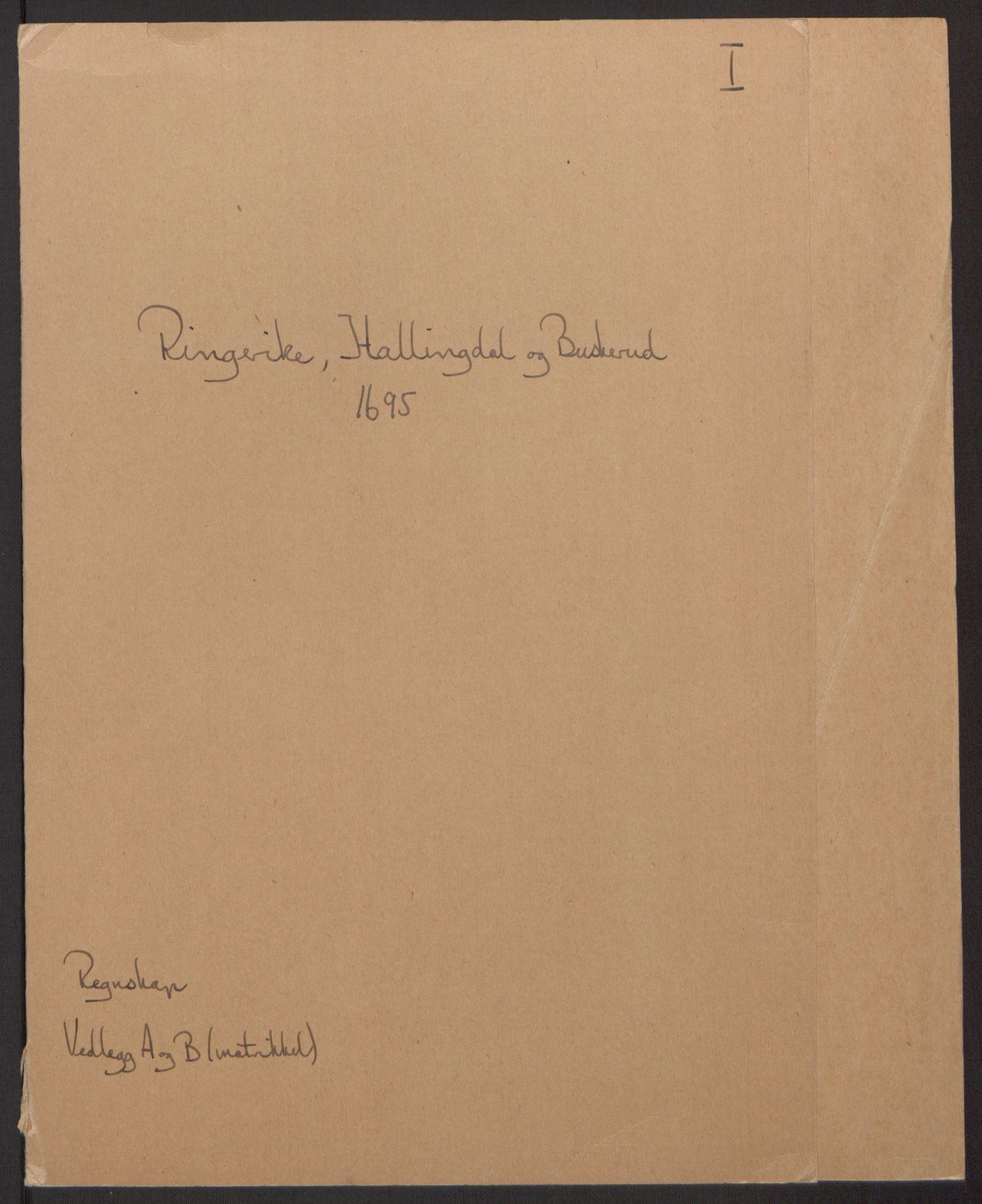 RA, Rentekammeret inntil 1814, Reviderte regnskaper, Fogderegnskap, R22/L1452: Fogderegnskap Ringerike, Hallingdal og Buskerud, 1695, s. 2