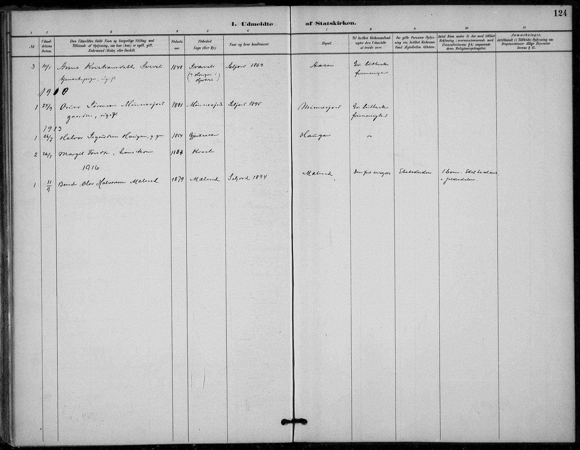 SAKO, Seljord kirkebøker, F/Fb/L0002: Ministerialbok nr. II 2, 1887-1917, s. 124