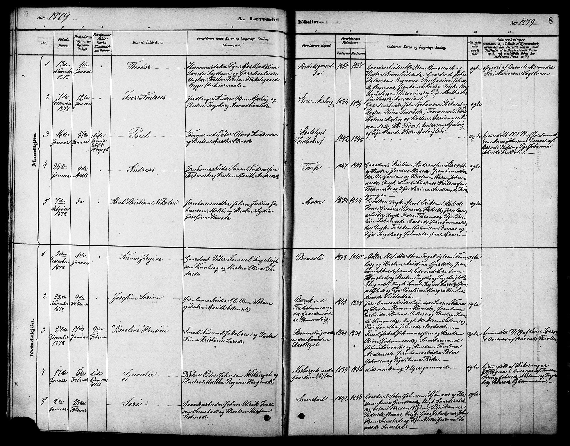 SAT, Ministerialprotokoller, klokkerbøker og fødselsregistre - Sør-Trøndelag, 616/L0423: Klokkerbok nr. 616C06, 1878-1903, s. 8