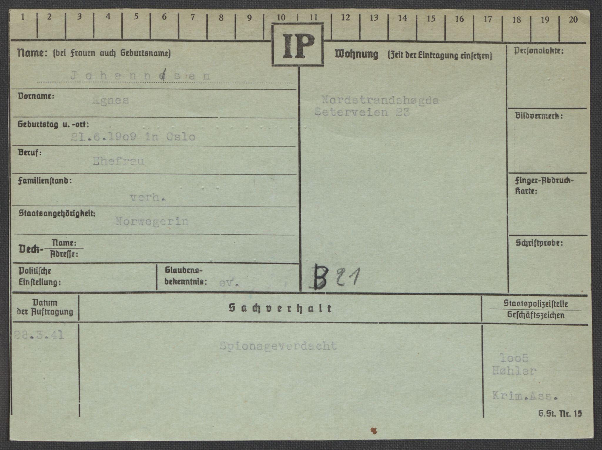 RA, Befehlshaber der Sicherheitspolizei und des SD, E/Ea/Eaa/L0005: Register over norske fanger i Møllergata 19: Hø-Kj, 1940-1945, s. 587