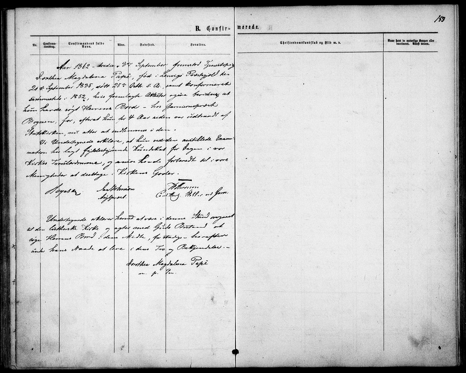 SAO, Garnisonsmenigheten Kirkebøker, F/Fa/L0010: Ministerialbok nr. 10, 1859-1869, s. 153