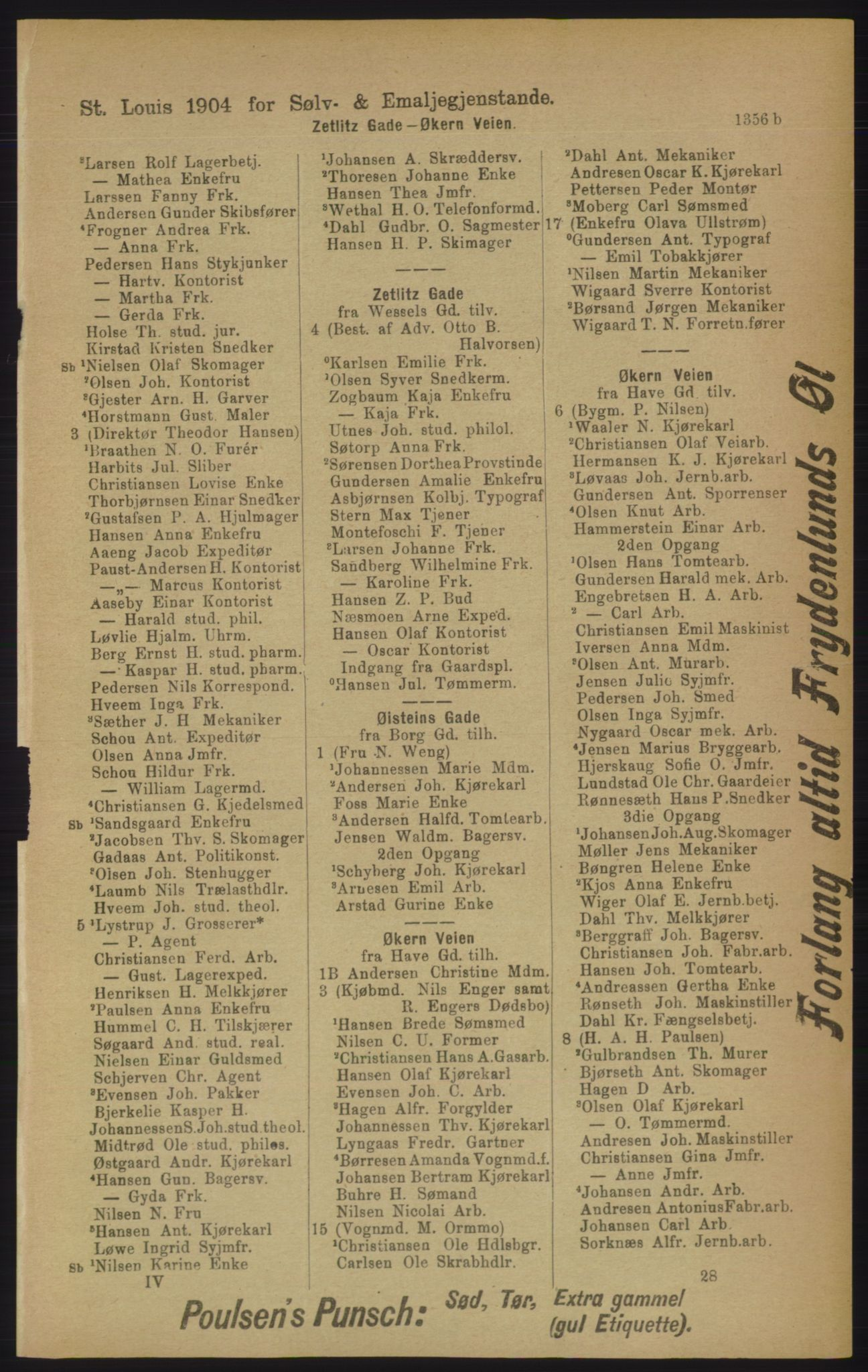 RA, Kristiania adressebok (publikasjon)*, 1906, s. 1356