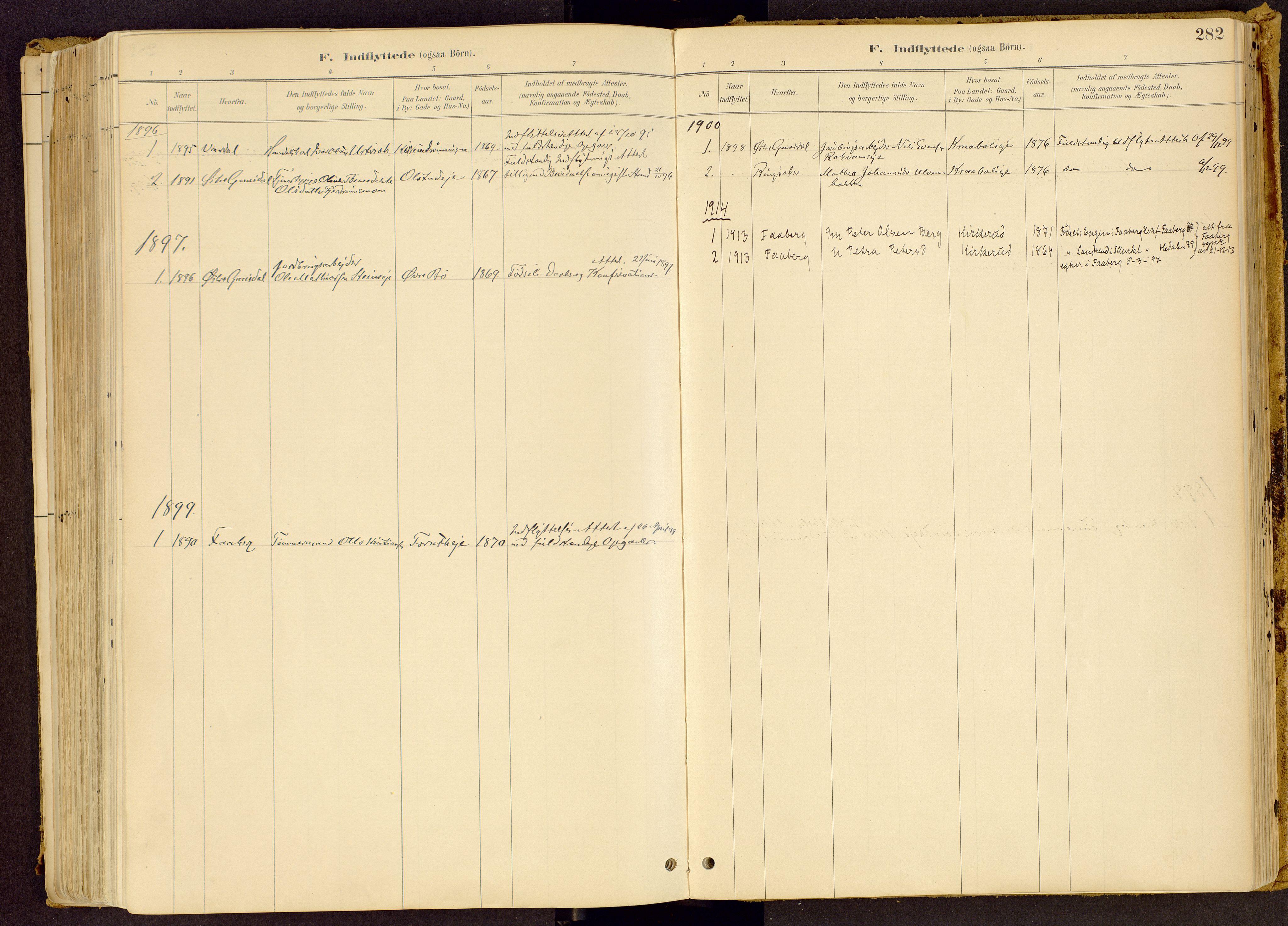 SAH, Vestre Gausdal prestekontor, Ministerialbok nr. 1, 1887-1914, s. 282