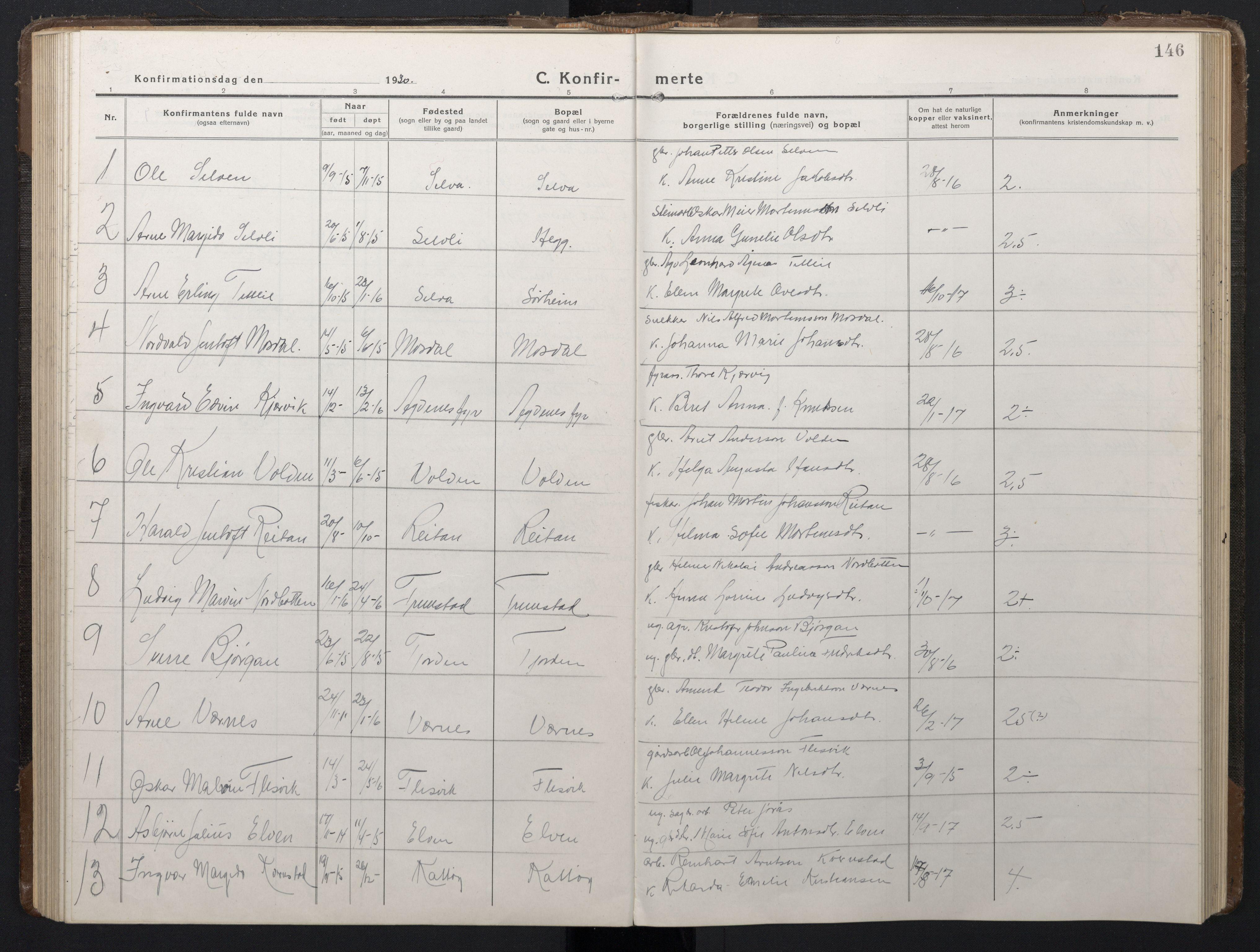 SAT, Ministerialprotokoller, klokkerbøker og fødselsregistre - Sør-Trøndelag, 662/L0758: Klokkerbok nr. 662C03, 1918-1948, s. 146