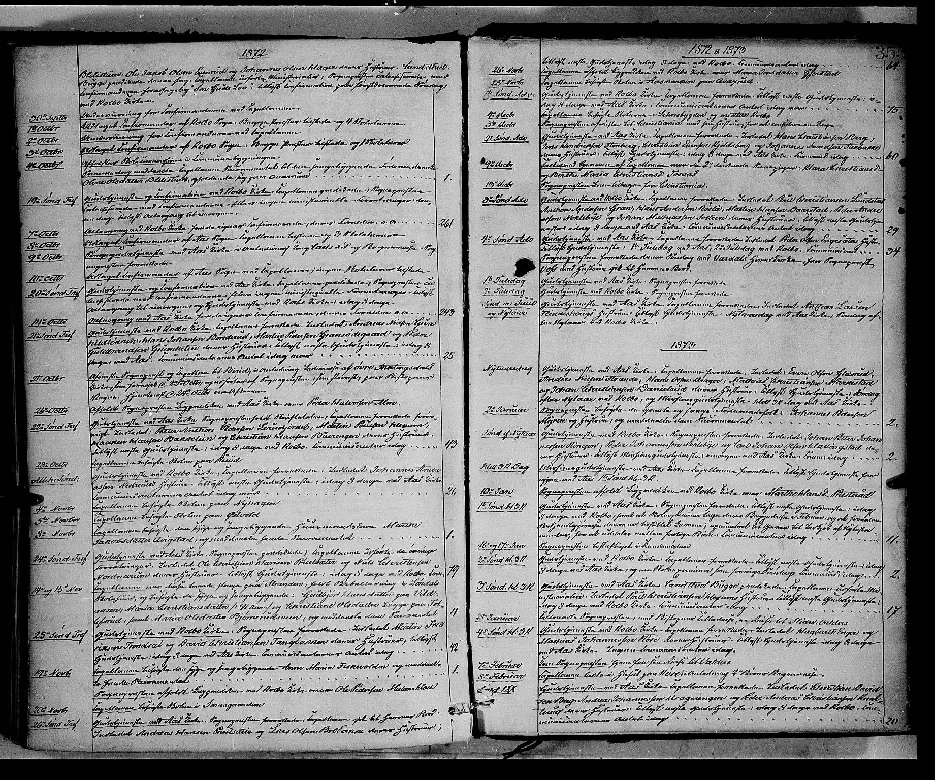 SAH, Vestre Toten prestekontor, Ministerialbok nr. 8, 1870-1877, s. 355
