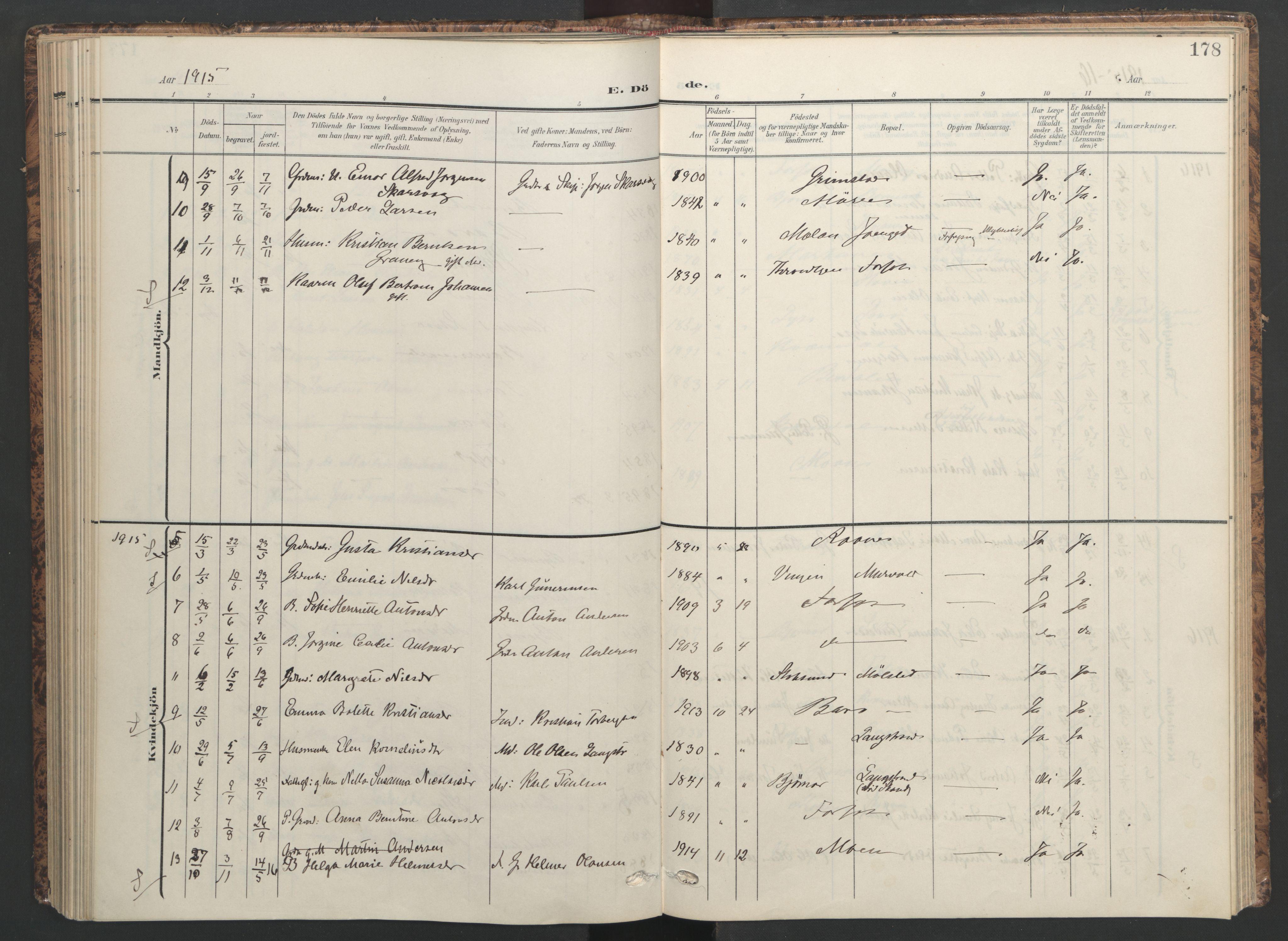 SAT, Ministerialprotokoller, klokkerbøker og fødselsregistre - Sør-Trøndelag, 655/L0682: Ministerialbok nr. 655A11, 1908-1922, s. 178