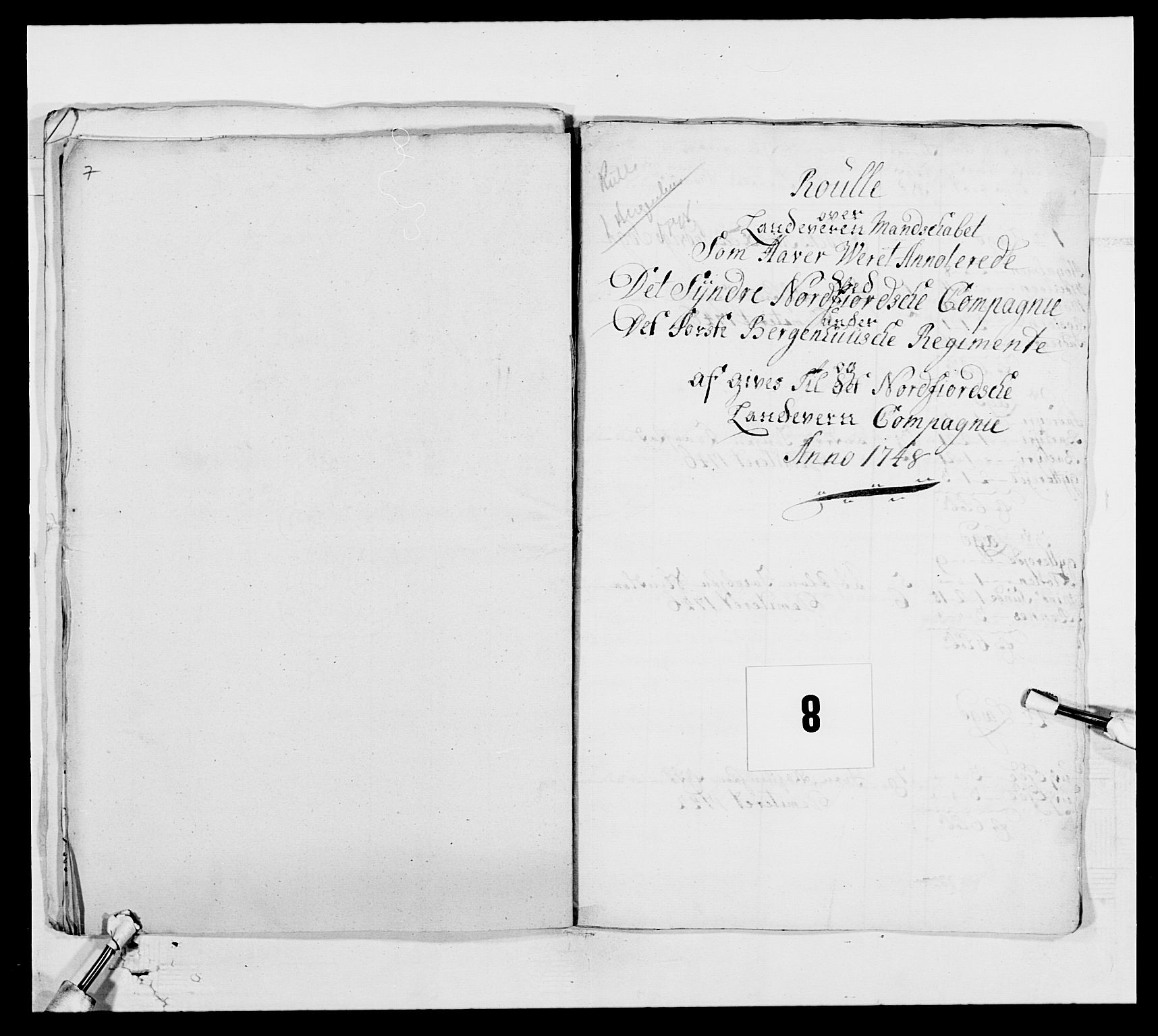 RA, Kommanderende general (KG I) med Det norske krigsdirektorium, E/Ea/L0517: 1. Bergenhusiske regiment, 1742-1756, s. 54