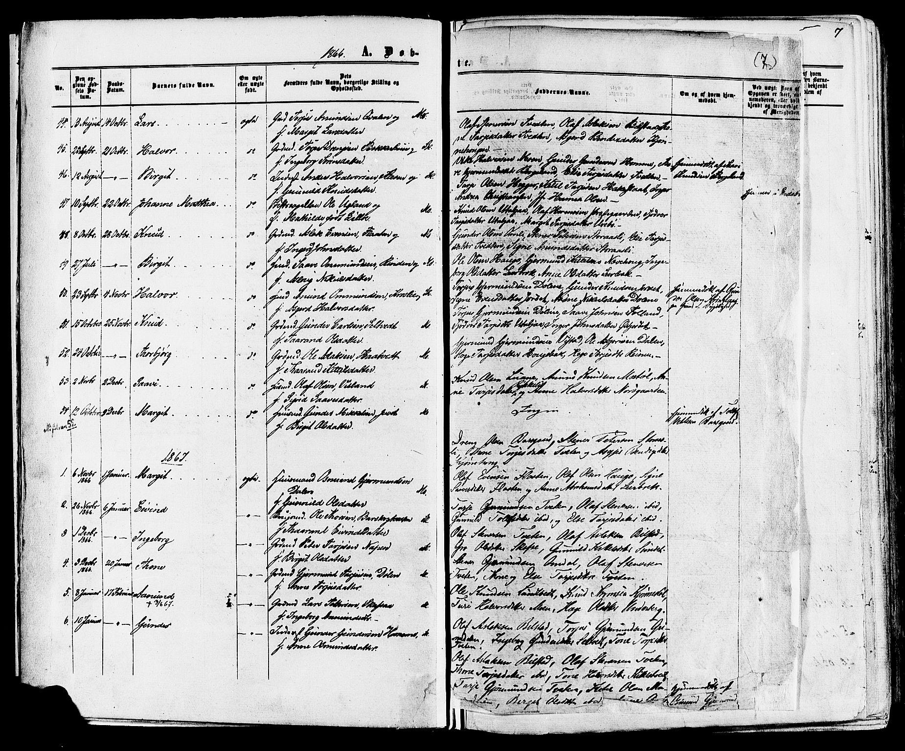 SAKO, Mo kirkebøker, F/Fa/L0006: Ministerialbok nr. I 6, 1865-1885, s. 7