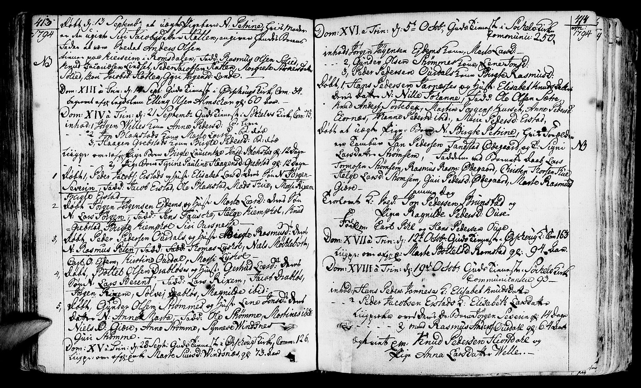 SAT, Ministerialprotokoller, klokkerbøker og fødselsregistre - Møre og Romsdal, 522/L0308: Ministerialbok nr. 522A03, 1773-1809, s. 413-414