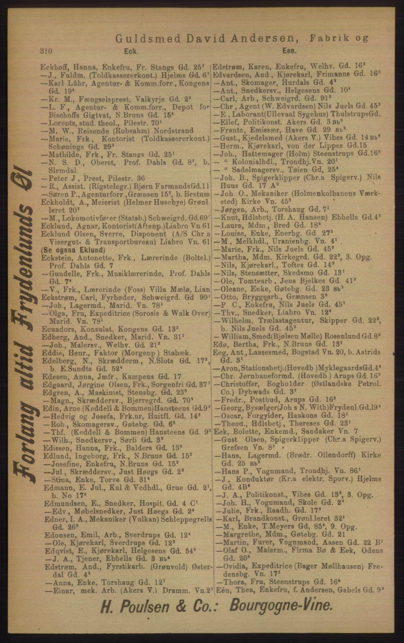 PUBL, Kristiania/Oslo adressebok, 1906, s. 310