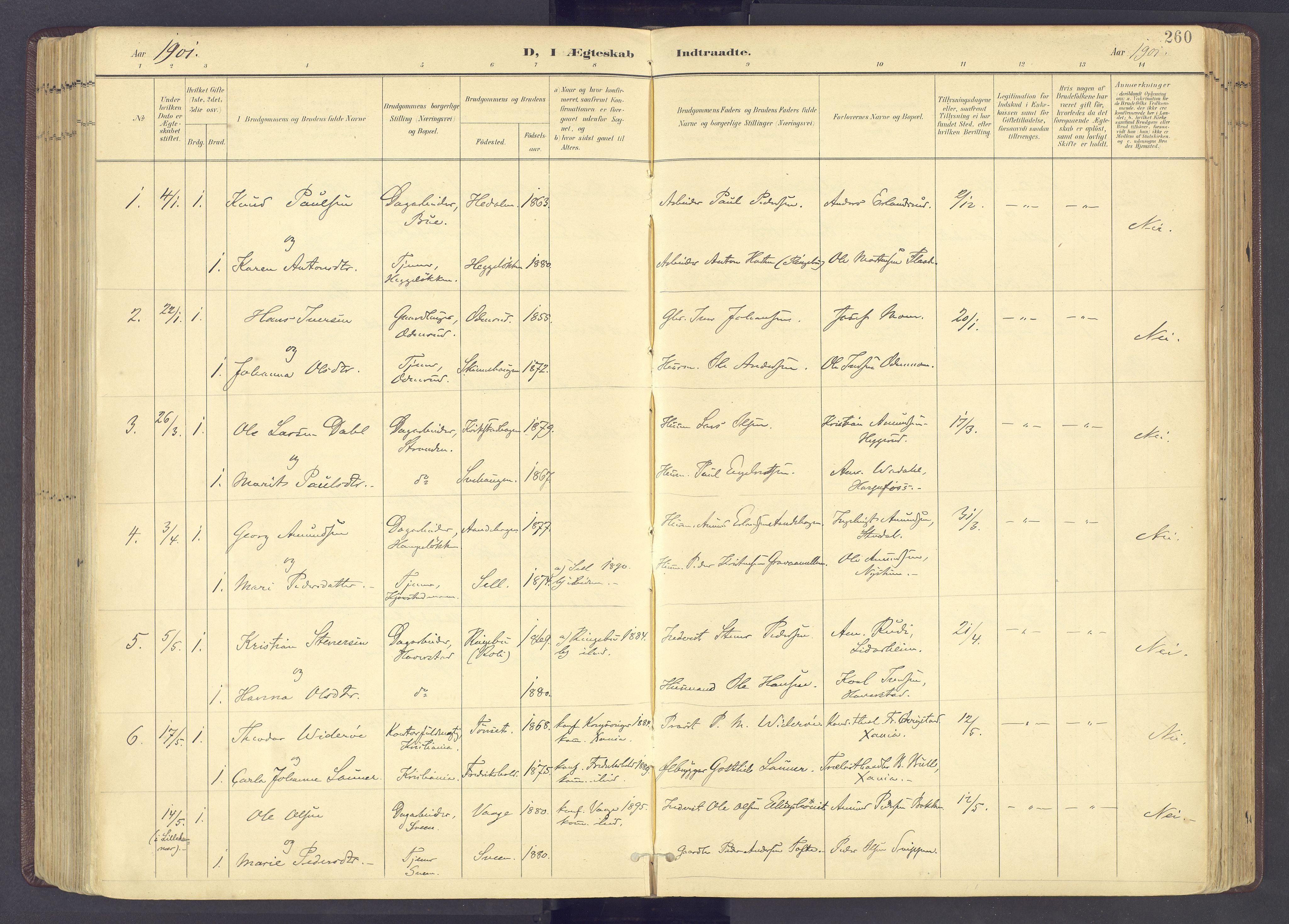 SAH, Sør-Fron prestekontor, H/Ha/Haa/L0004: Ministerialbok nr. 4, 1898-1919, s. 260