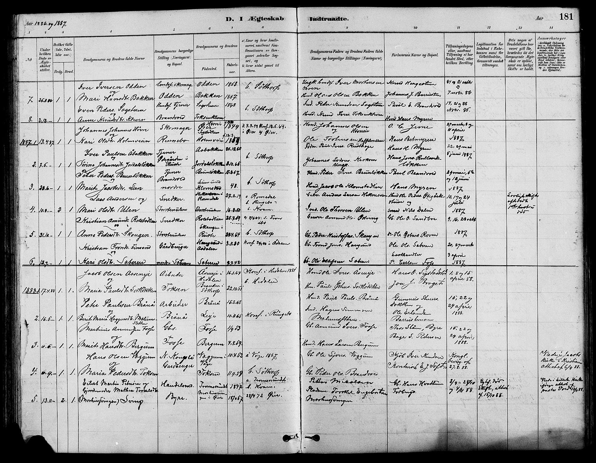 SAH, Nord-Fron prestekontor, Klokkerbok nr. 4, 1884-1914, s. 181