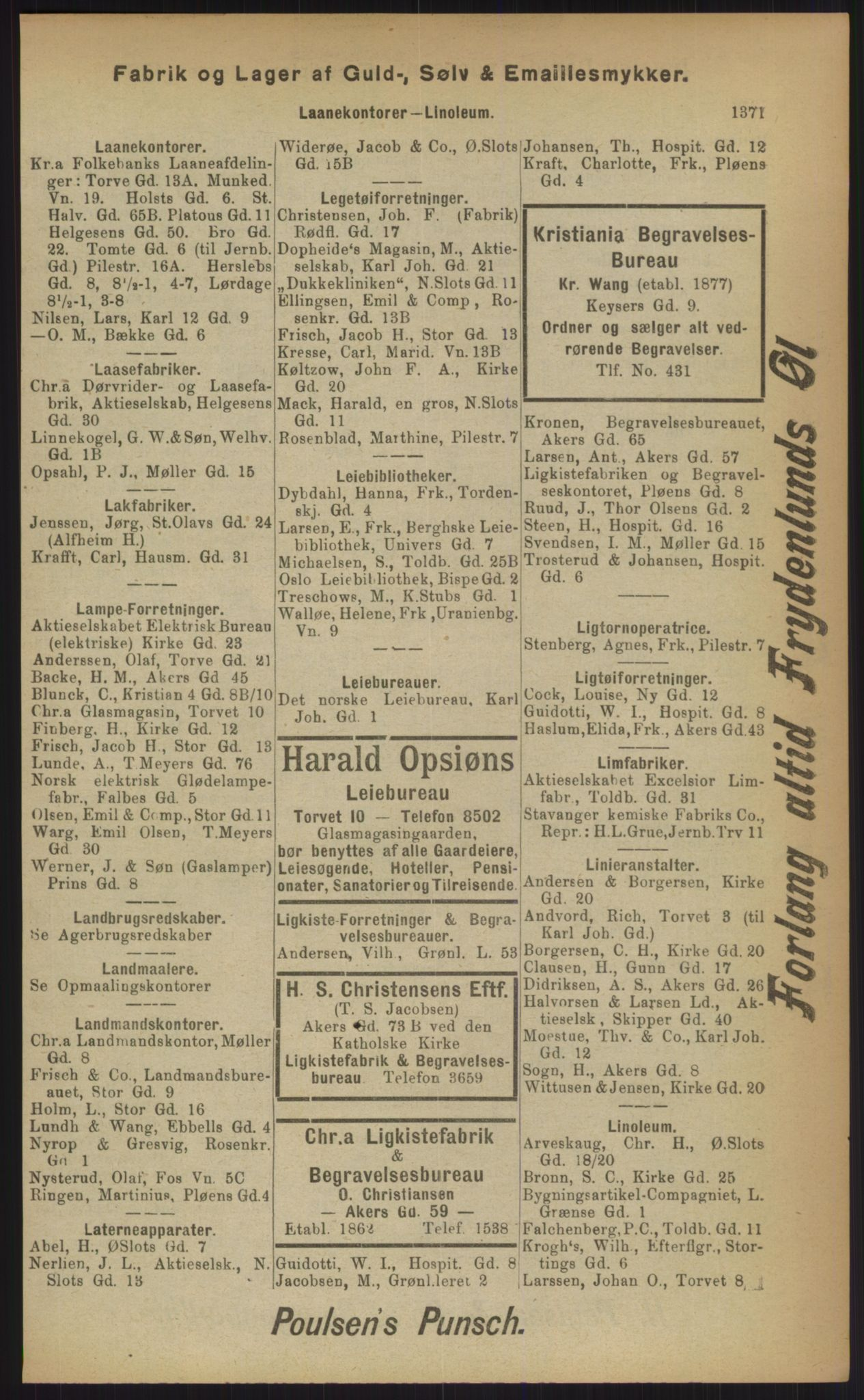 RA, Kristiania adressebok (publikasjon)*, 1903, s. 1371