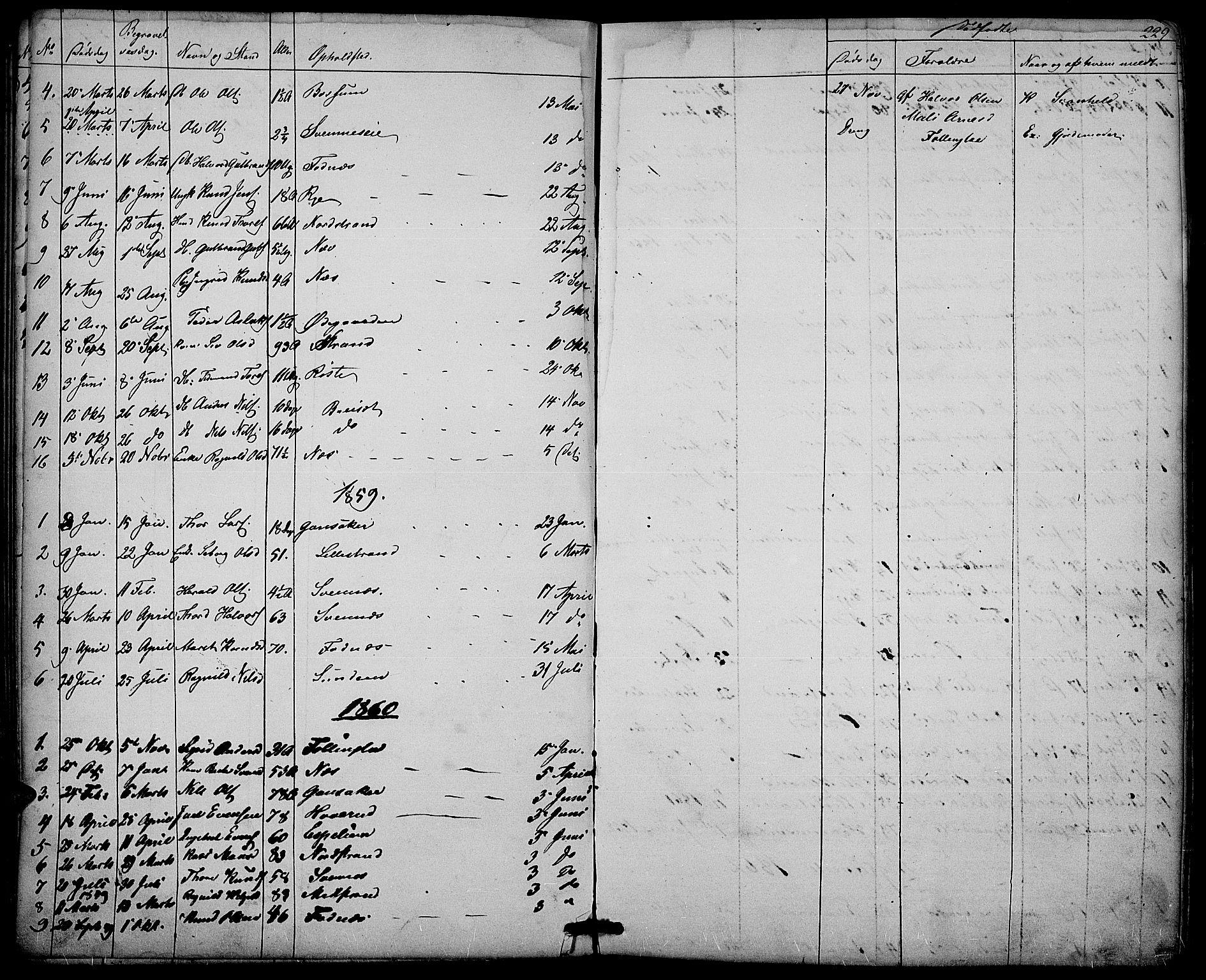SAH, Nord-Aurdal prestekontor, Klokkerbok nr. 3, 1842-1882, s. 229