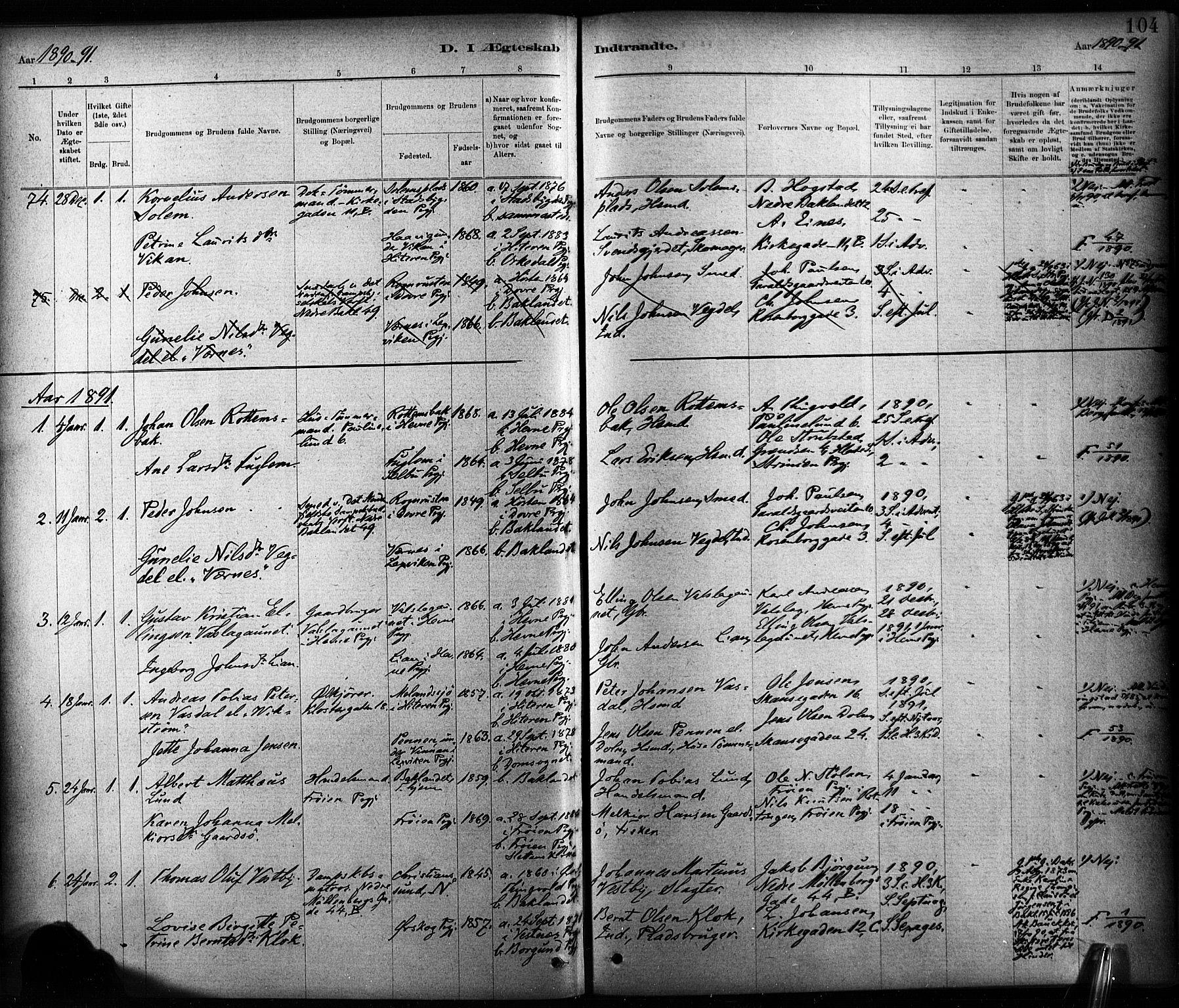 SAT, Ministerialprotokoller, klokkerbøker og fødselsregistre - Sør-Trøndelag, 604/L0189: Ministerialbok nr. 604A10, 1878-1892, s. 104