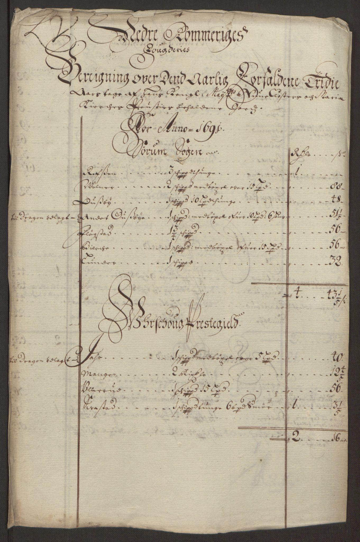 RA, Rentekammeret inntil 1814, Reviderte regnskaper, Fogderegnskap, R11/L0575: Fogderegnskap Nedre Romerike, 1691, s. 9