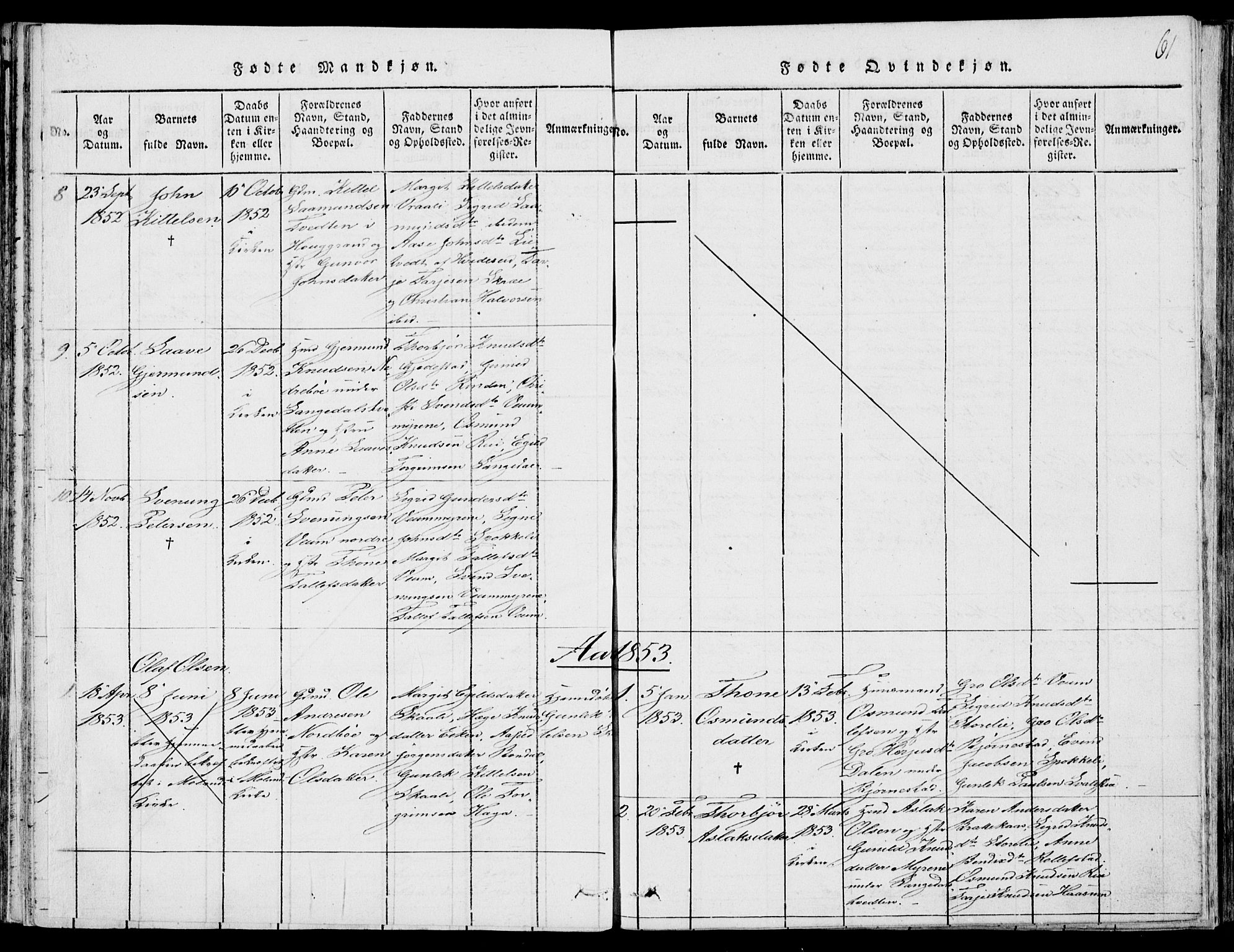 SAKO, Fyresdal kirkebøker, F/Fb/L0001: Ministerialbok nr. II 1, 1815-1854, s. 61