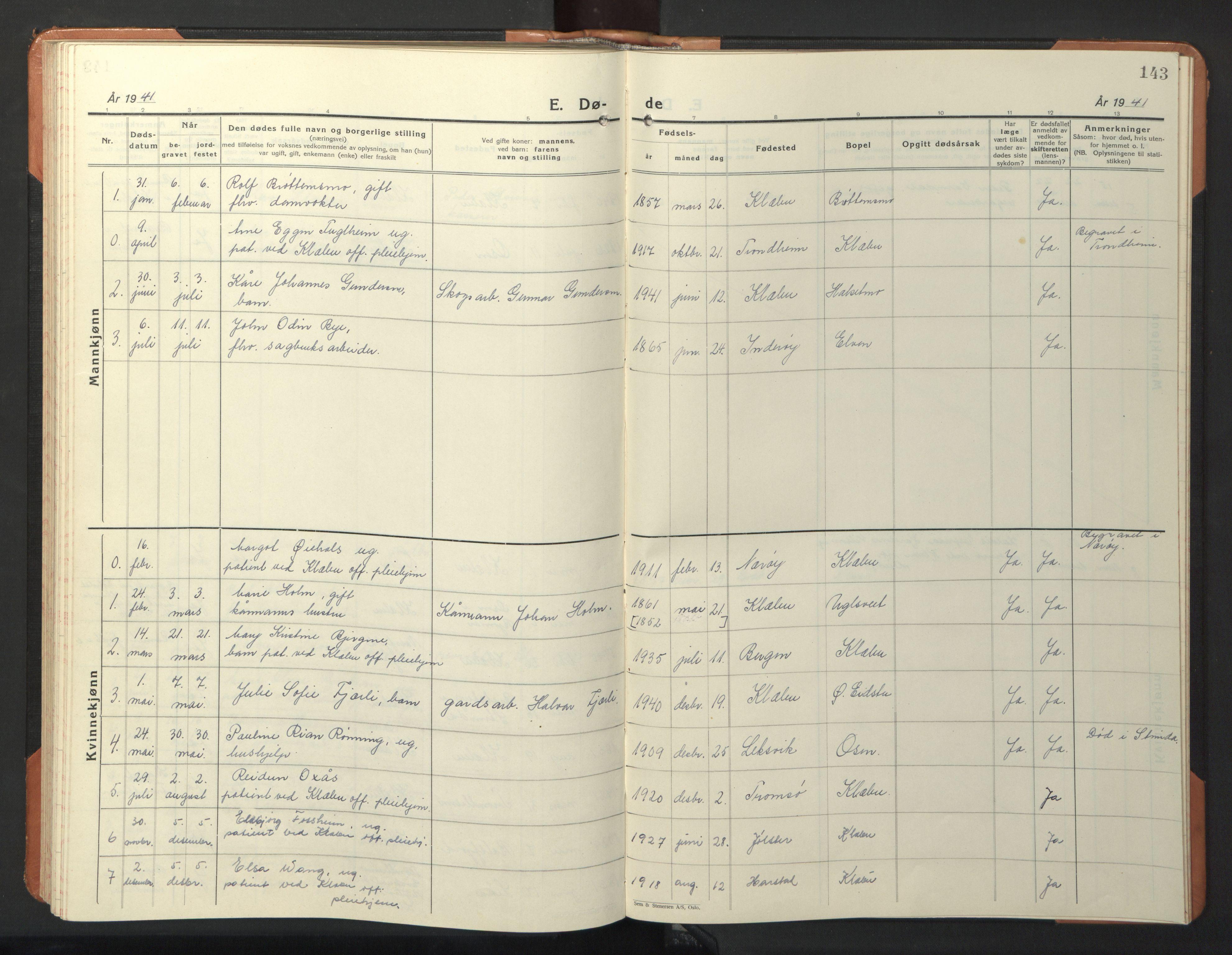 SAT, Ministerialprotokoller, klokkerbøker og fødselsregistre - Sør-Trøndelag, 618/L0454: Klokkerbok nr. 618C05, 1926-1946, s. 143