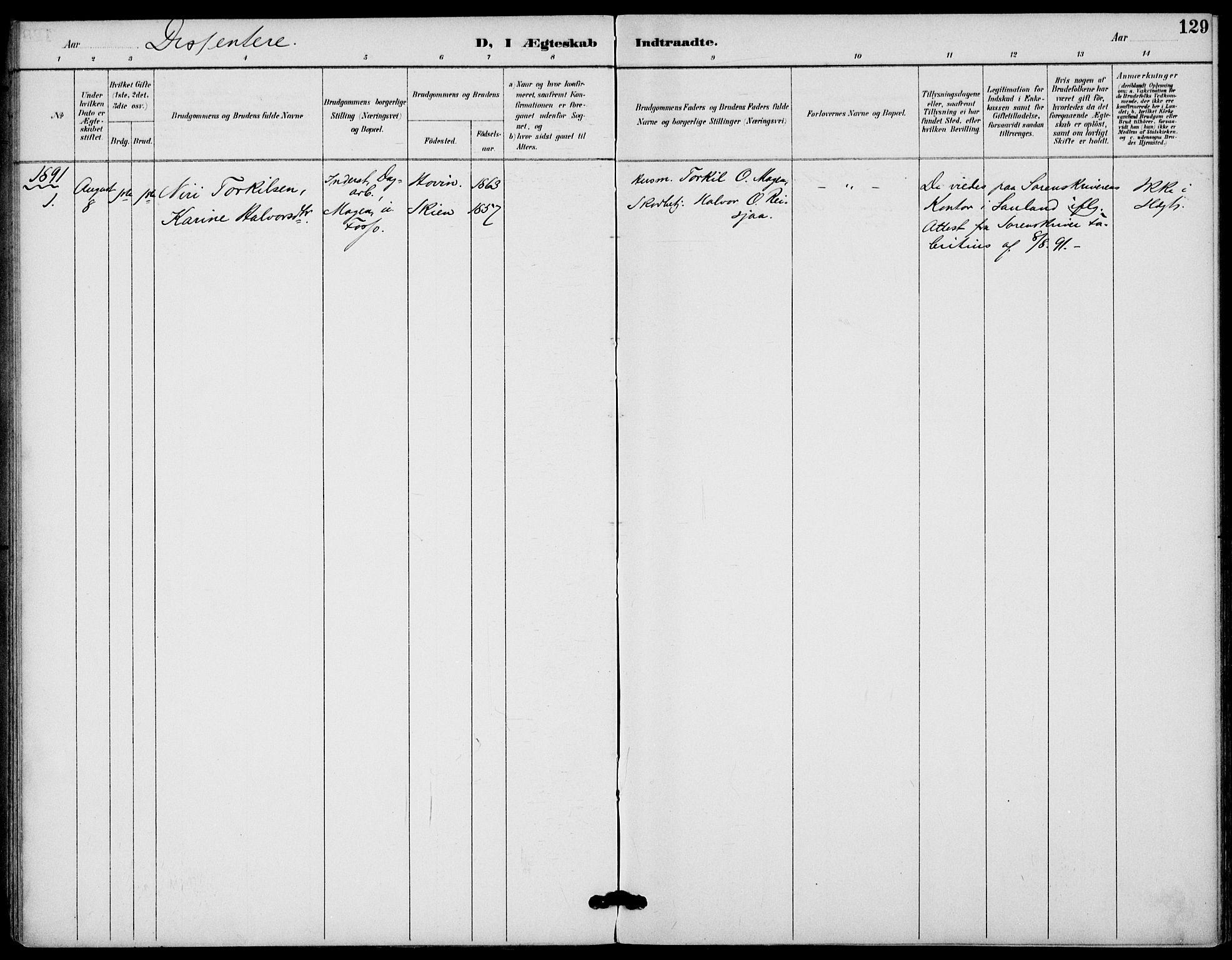 SAKO, Gransherad kirkebøker, F/Fb/L0005: Ministerialbok nr. II 5, 1887-1916, s. 129