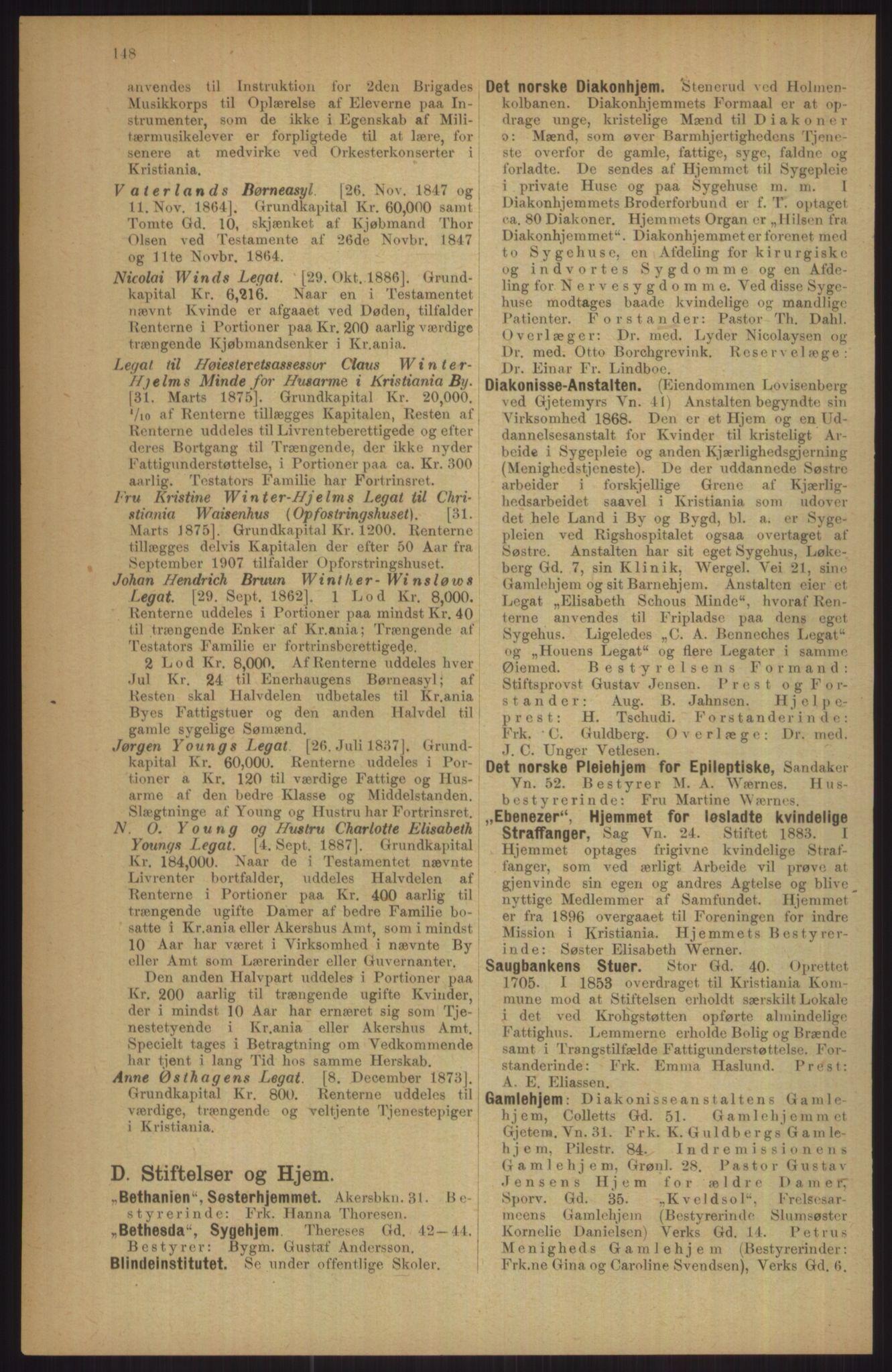 RA, Kristiania adressebok (publikasjon)*, 1911, s. 148