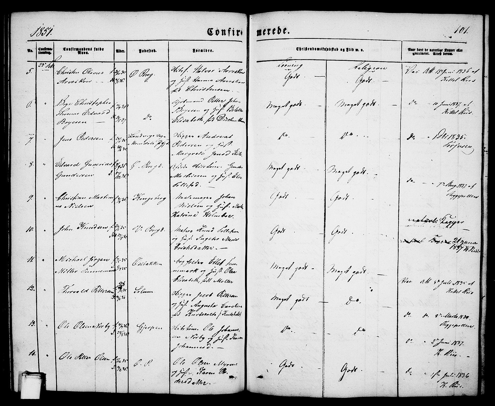SAKO, Porsgrunn kirkebøker , G/Ga/L0002: Klokkerbok nr. I 2, 1847-1877, s. 101
