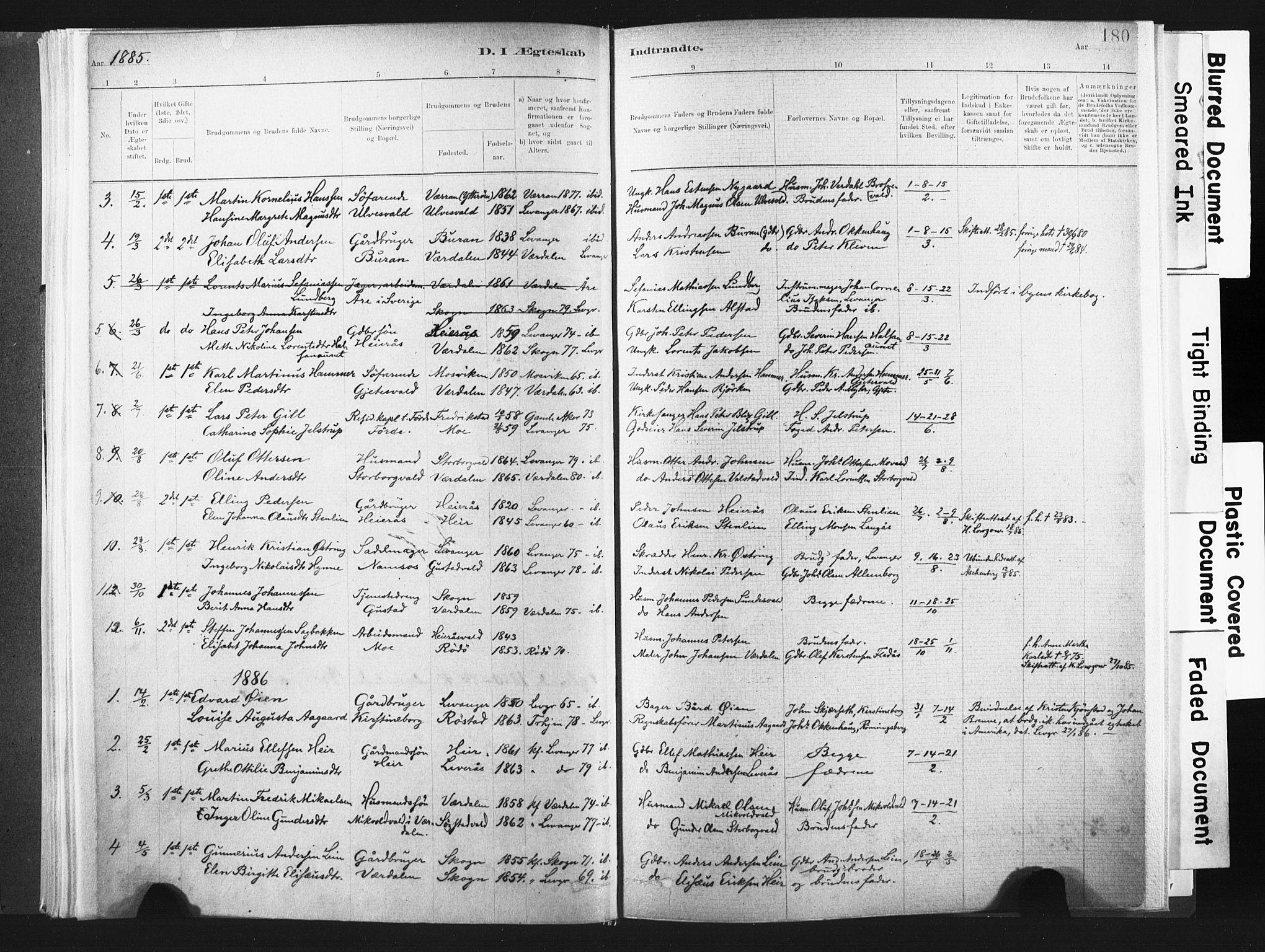 SAT, Ministerialprotokoller, klokkerbøker og fødselsregistre - Nord-Trøndelag, 721/L0207: Ministerialbok nr. 721A02, 1880-1911, s. 180