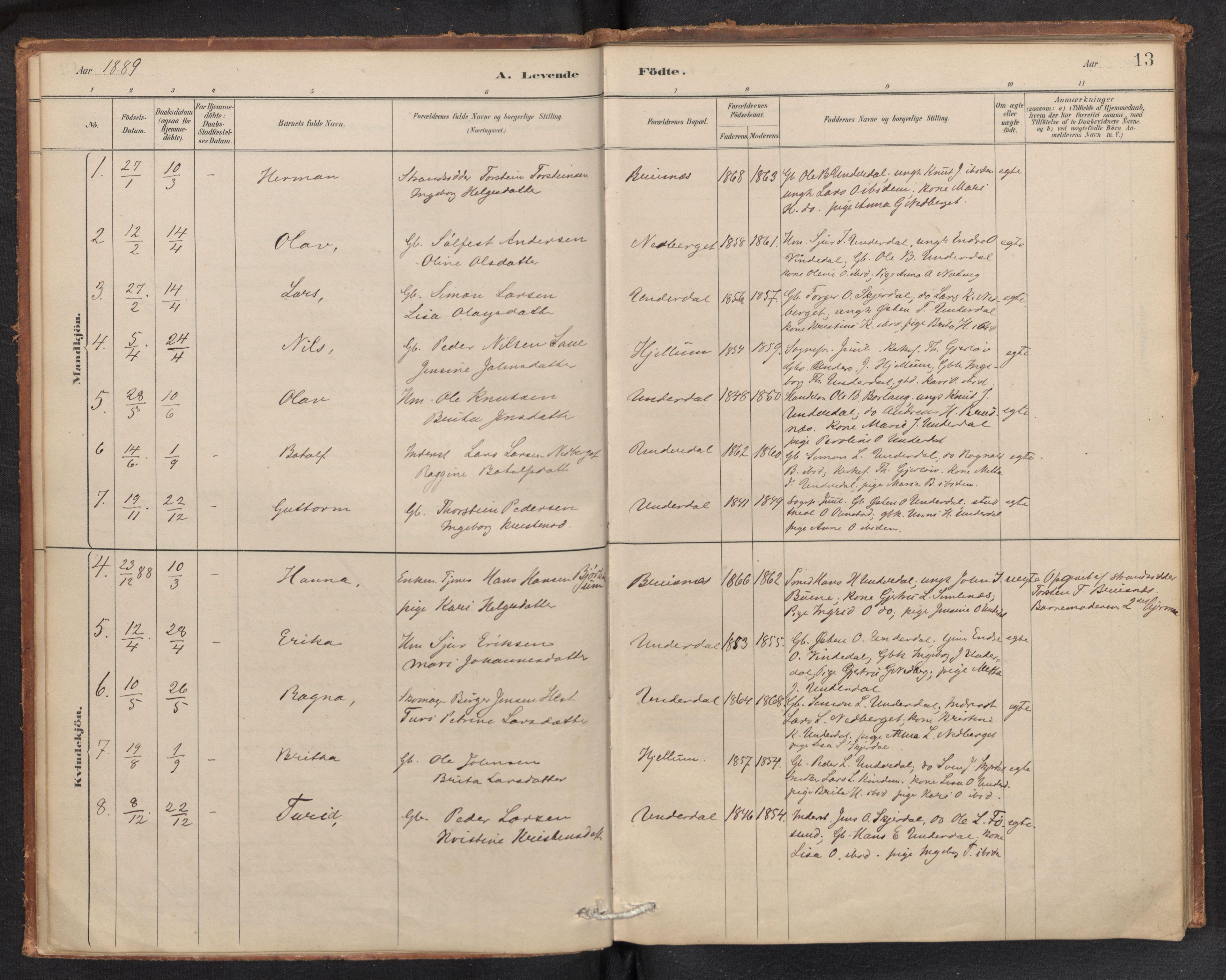 SAB, Aurland sokneprestembete, H/Ha/Hae/L0001: Ministerialbok nr. E 1, 1880-1907, s. 12b-13a