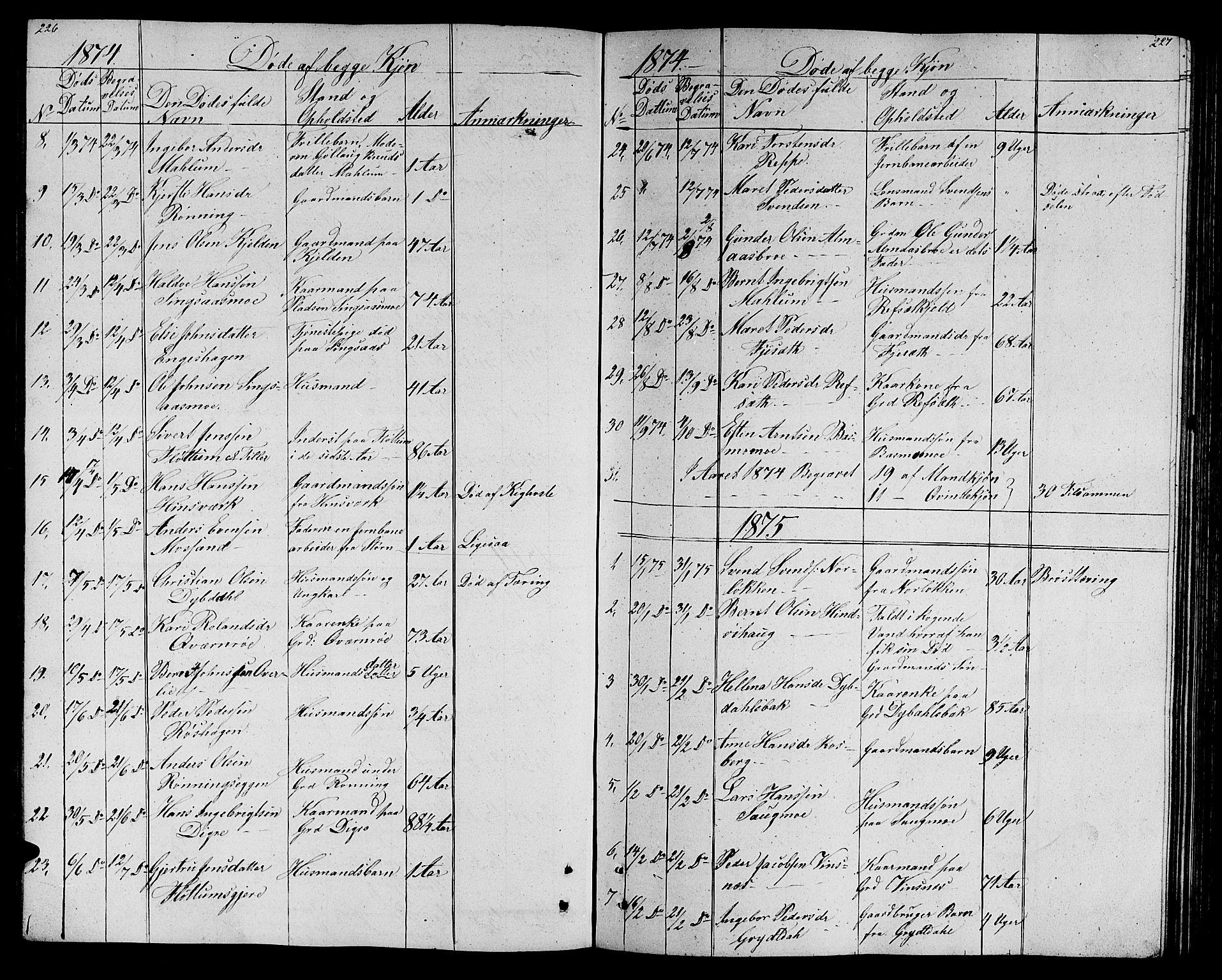 SAT, Ministerialprotokoller, klokkerbøker og fødselsregistre - Sør-Trøndelag, 688/L1027: Klokkerbok nr. 688C02, 1861-1889, s. 226-227
