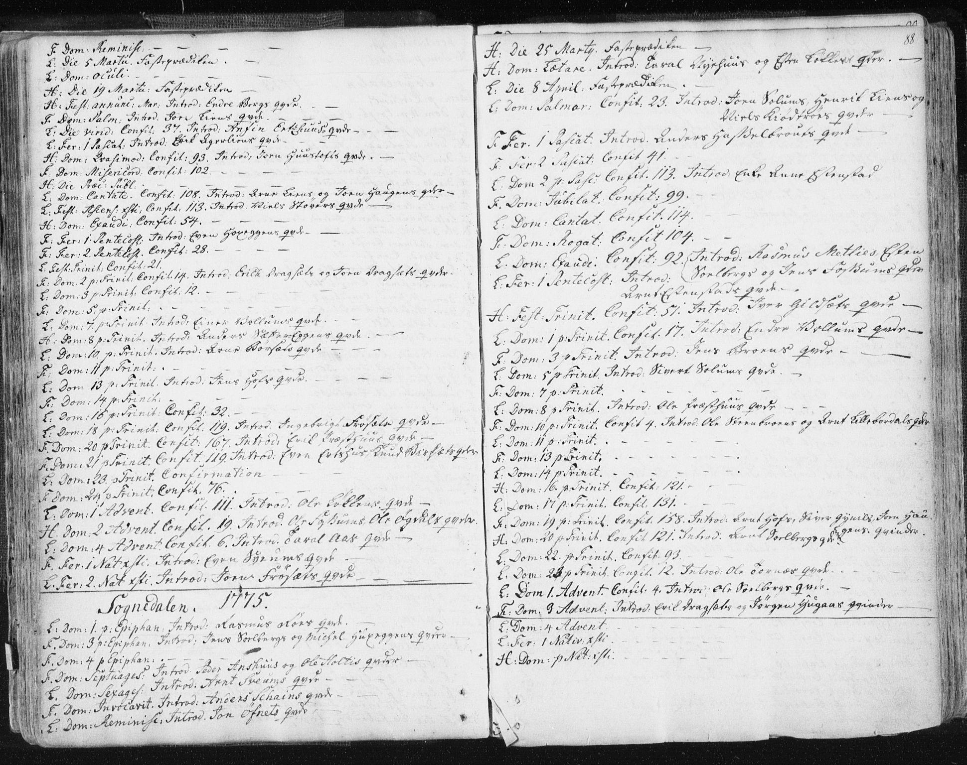 SAT, Ministerialprotokoller, klokkerbøker og fødselsregistre - Sør-Trøndelag, 687/L0991: Ministerialbok nr. 687A02, 1747-1790, s. 88