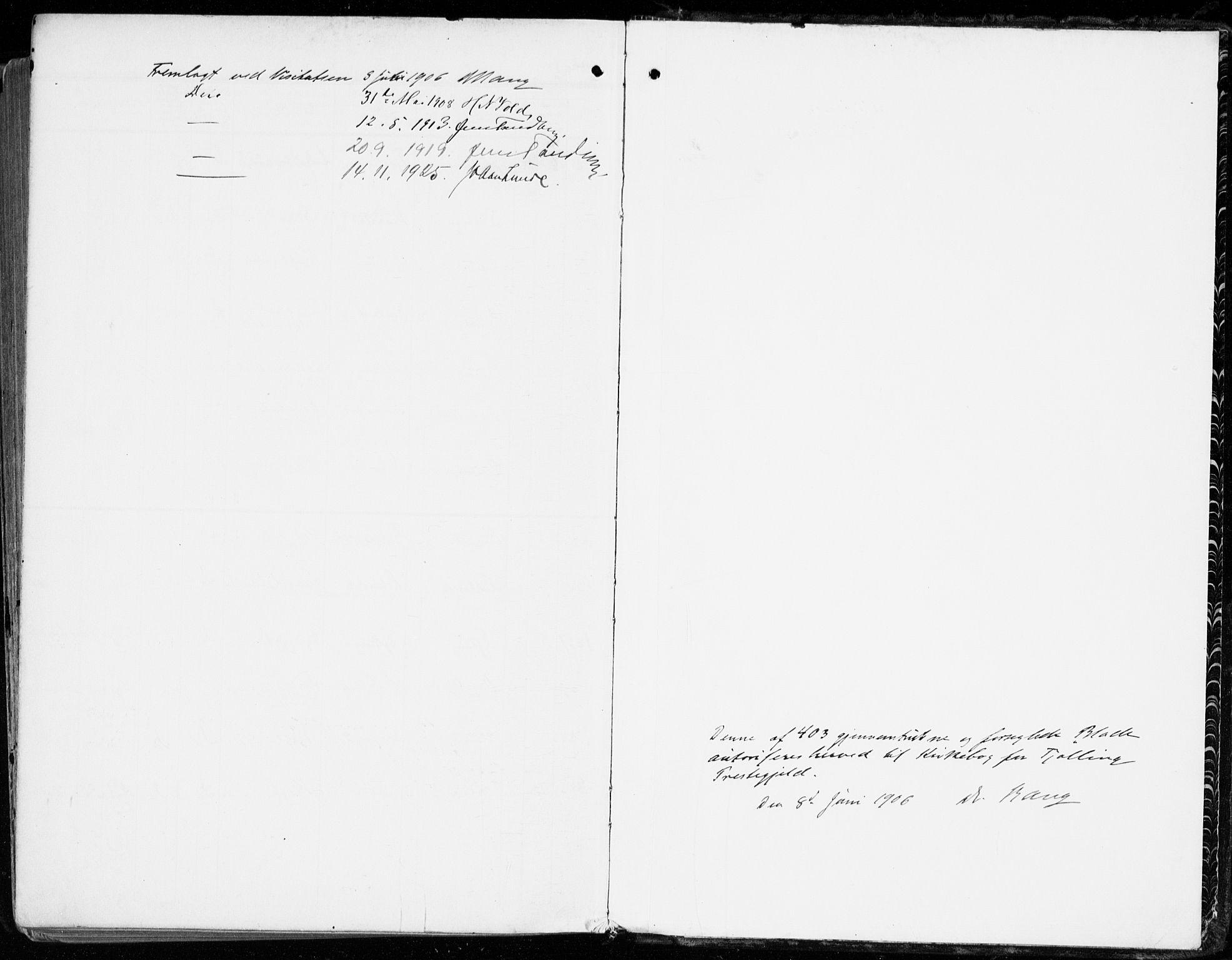 SAKO, Tjølling kirkebøker, F/Fa/L0010: Ministerialbok nr. 10, 1906-1923