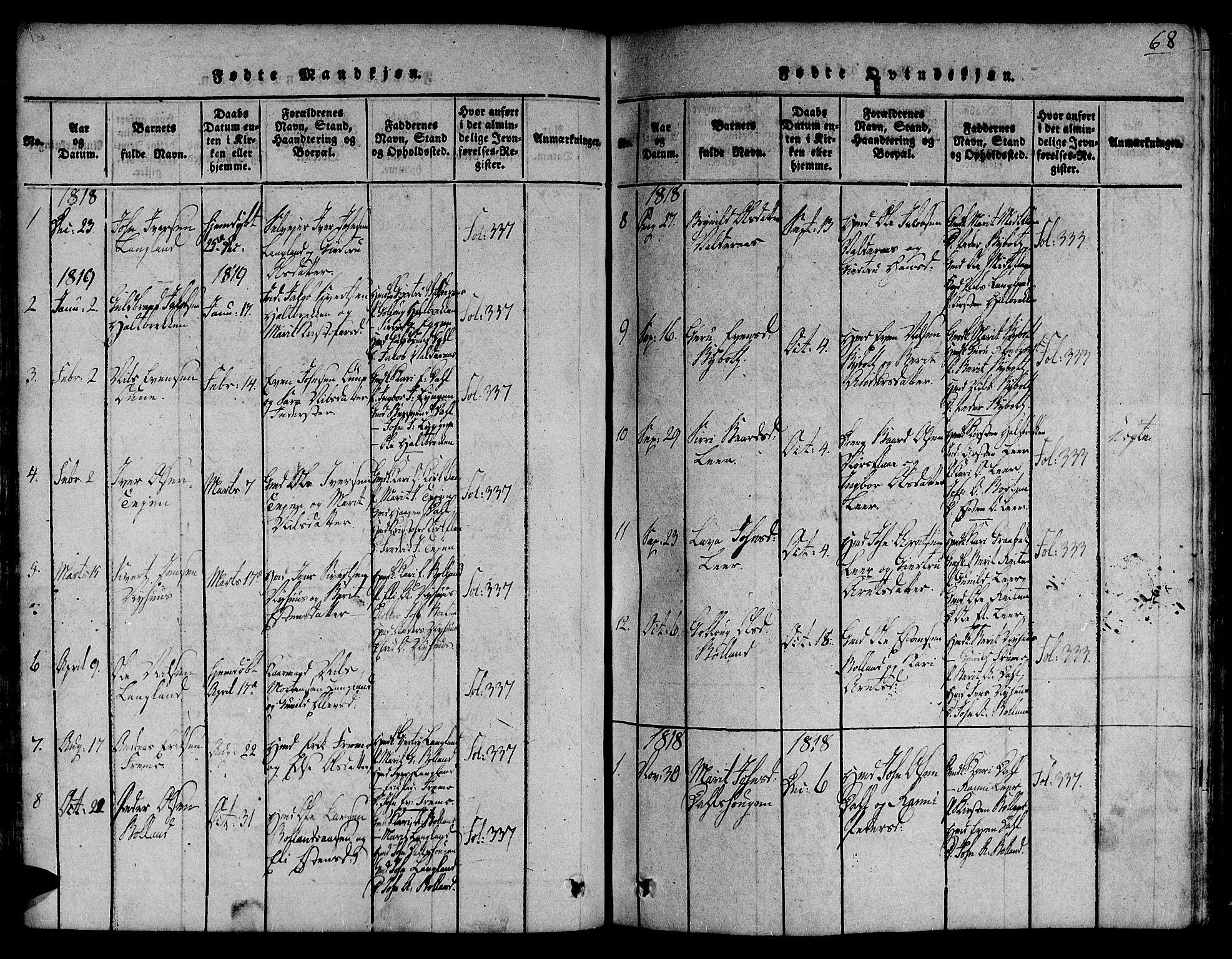 SAT, Ministerialprotokoller, klokkerbøker og fødselsregistre - Sør-Trøndelag, 691/L1066: Ministerialbok nr. 691A03 /2, 1816-1826, s. 68