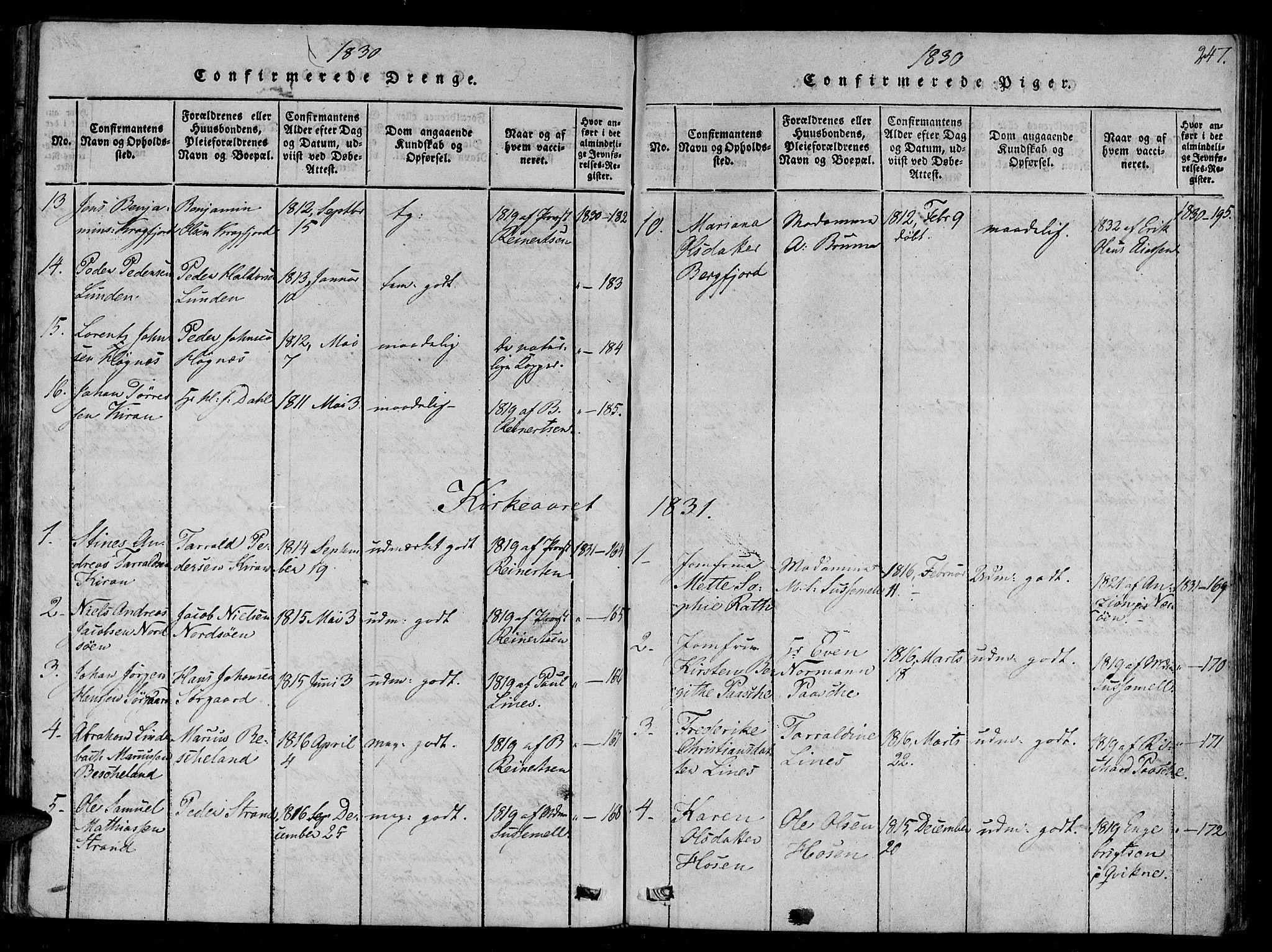 SAT, Ministerialprotokoller, klokkerbøker og fødselsregistre - Sør-Trøndelag, 657/L0702: Ministerialbok nr. 657A03, 1818-1831, s. 247