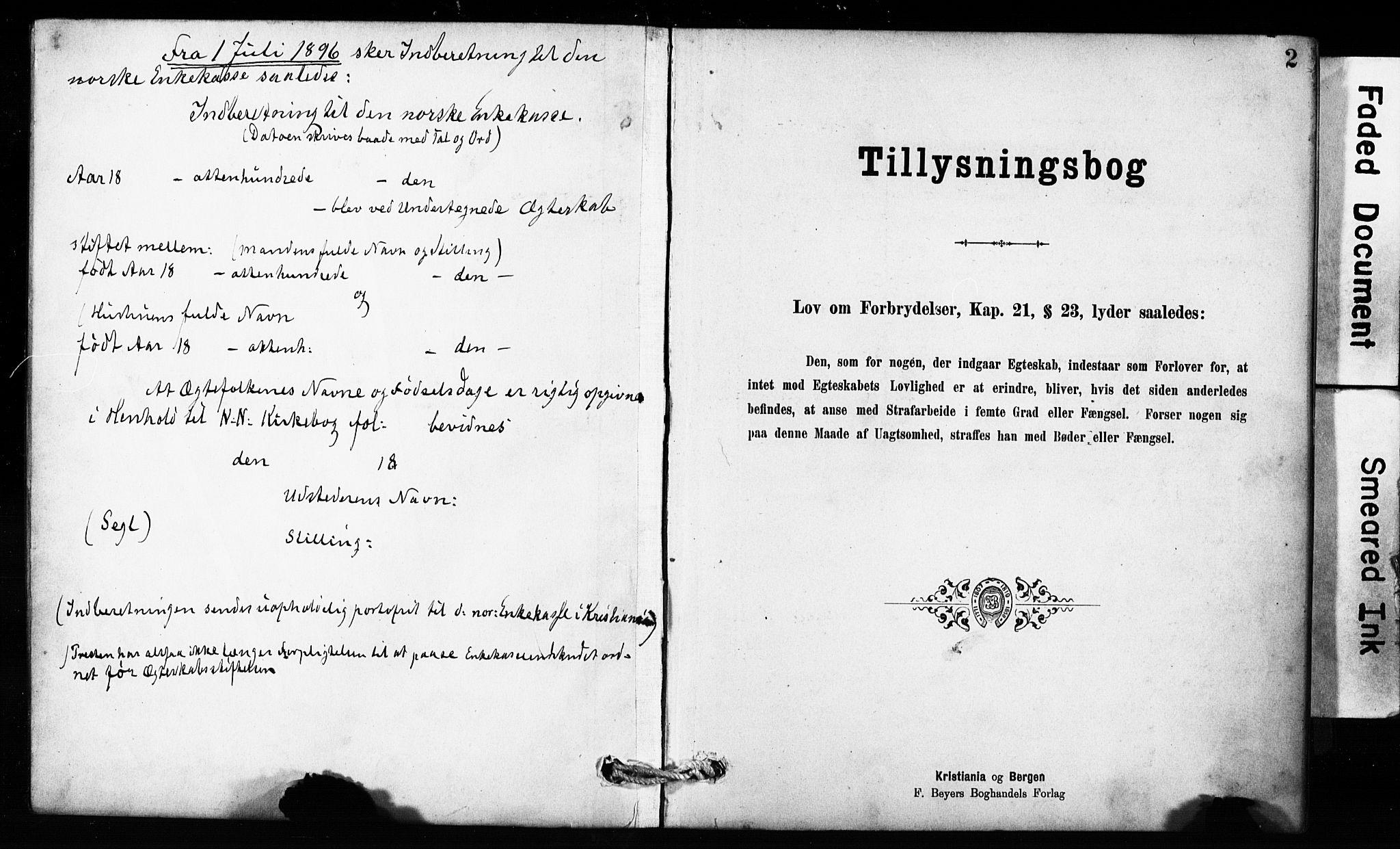SAB, Domkirken Sokneprestembete, Forlovererklæringer nr. II.5.10, 1890-1899, s. 2
