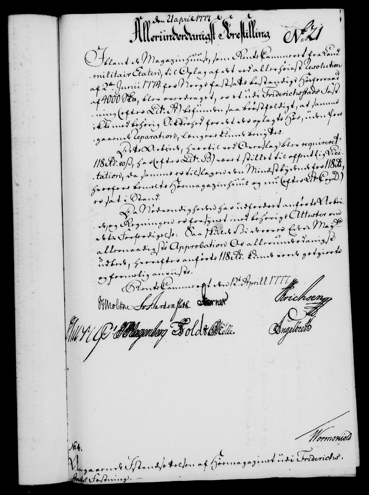 RA, Rentekammeret, Kammerkanselliet, G/Gf/Gfa/L0059: Norsk relasjons- og resolusjonsprotokoll (merket RK 52.59), 1777, s. 104