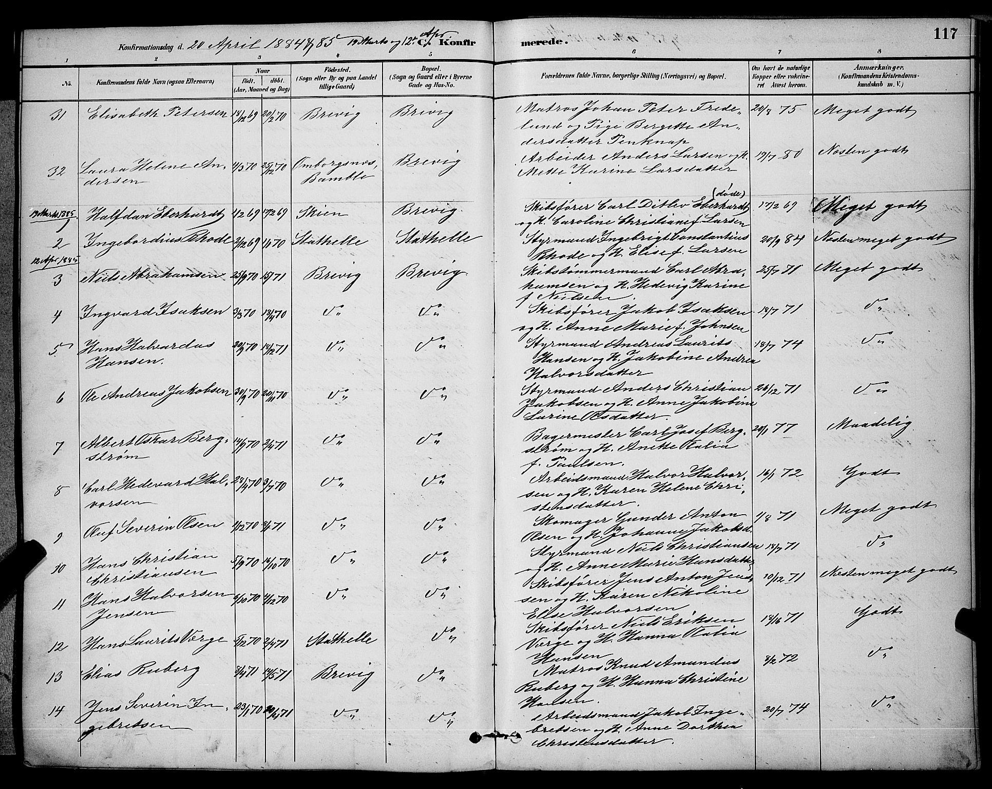SAKO, Brevik kirkebøker, G/Ga/L0004: Klokkerbok nr. 4, 1882-1900, s. 117