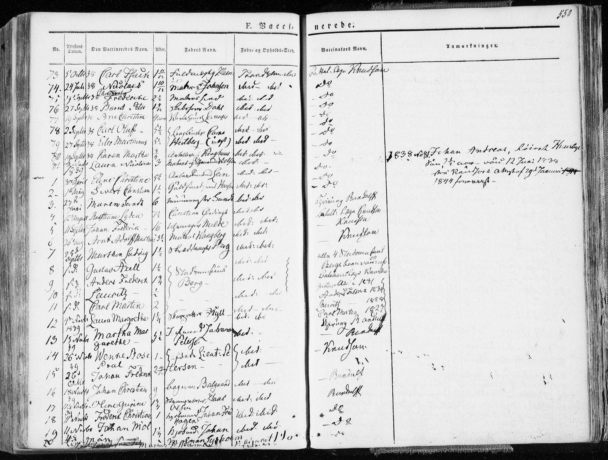 SAT, Ministerialprotokoller, klokkerbøker og fødselsregistre - Sør-Trøndelag, 601/L0047: Ministerialbok nr. 601A15, 1831-1839, s. 550
