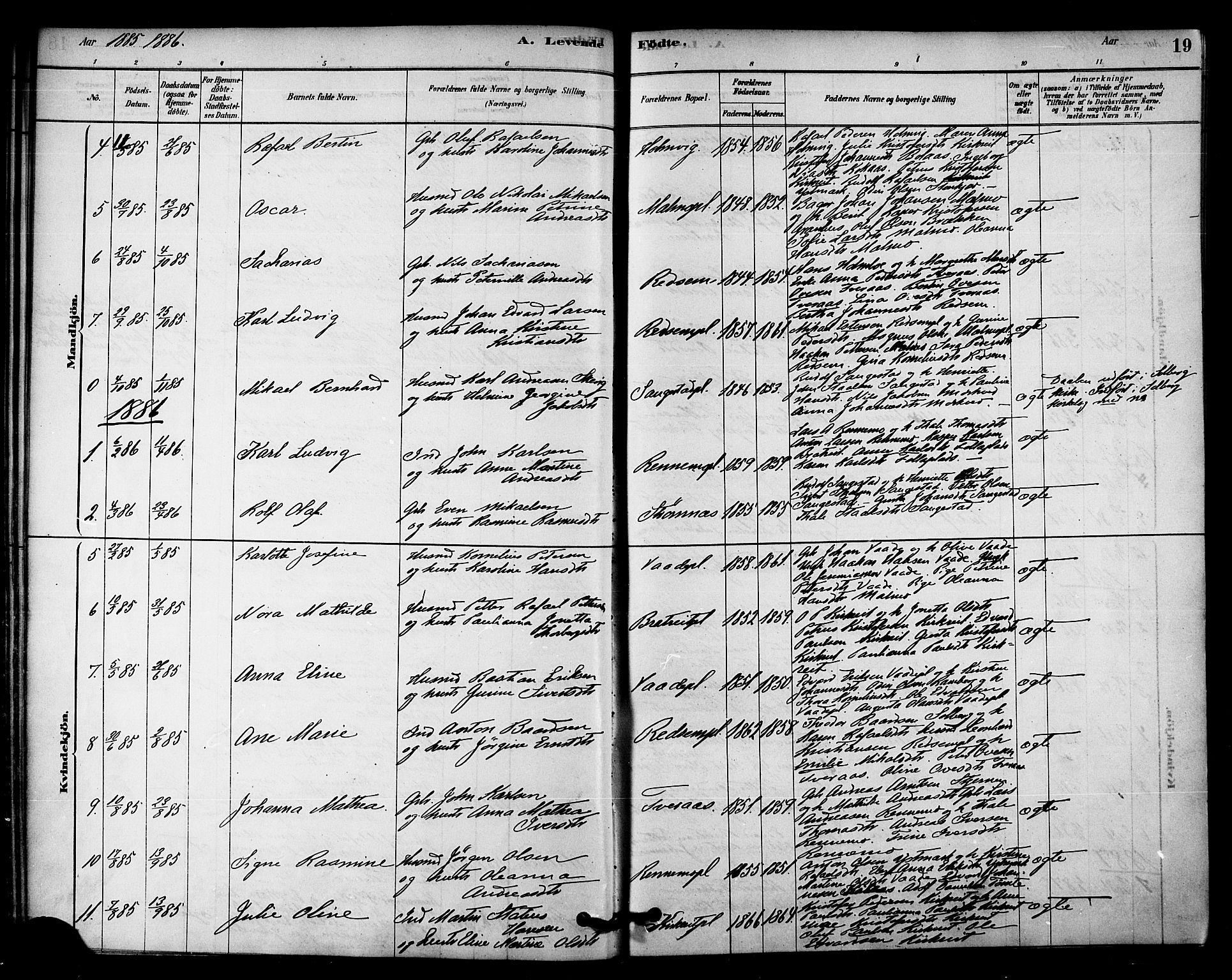SAT, Ministerialprotokoller, klokkerbøker og fødselsregistre - Nord-Trøndelag, 745/L0429: Ministerialbok nr. 745A01, 1878-1894, s. 19