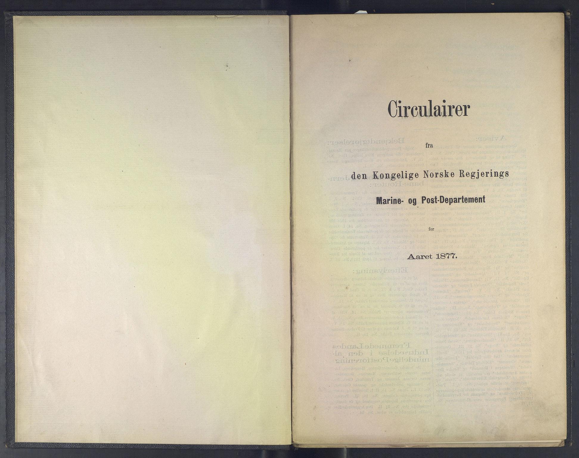 NOPO, Norges Postmuseums bibliotek, -/-: Sirkulærer fra Den Kongelige Norske Regjerings Marine- og Postdepartement, 1877-1878
