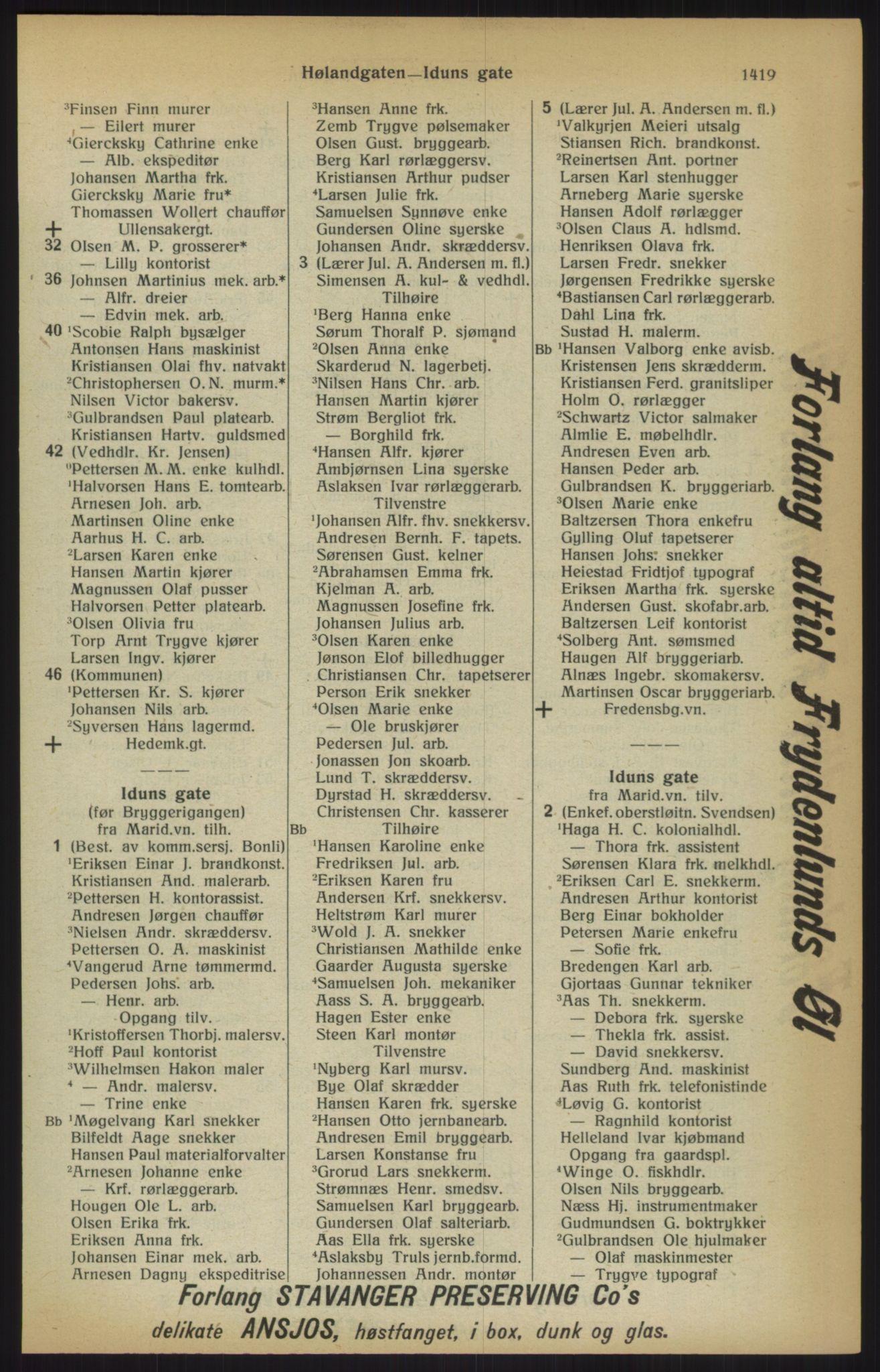 RA, Kristiania adressebok (publikasjon)*, 1915, s. 1419