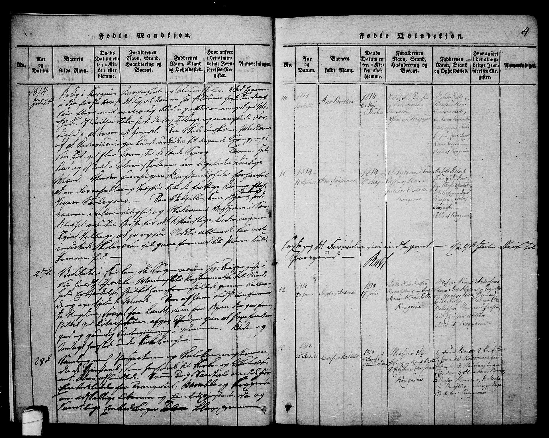 SAKO, Kragerø kirkebøker, F/Fa/L0004: Ministerialbok nr. 4, 1814-1831, s. 4