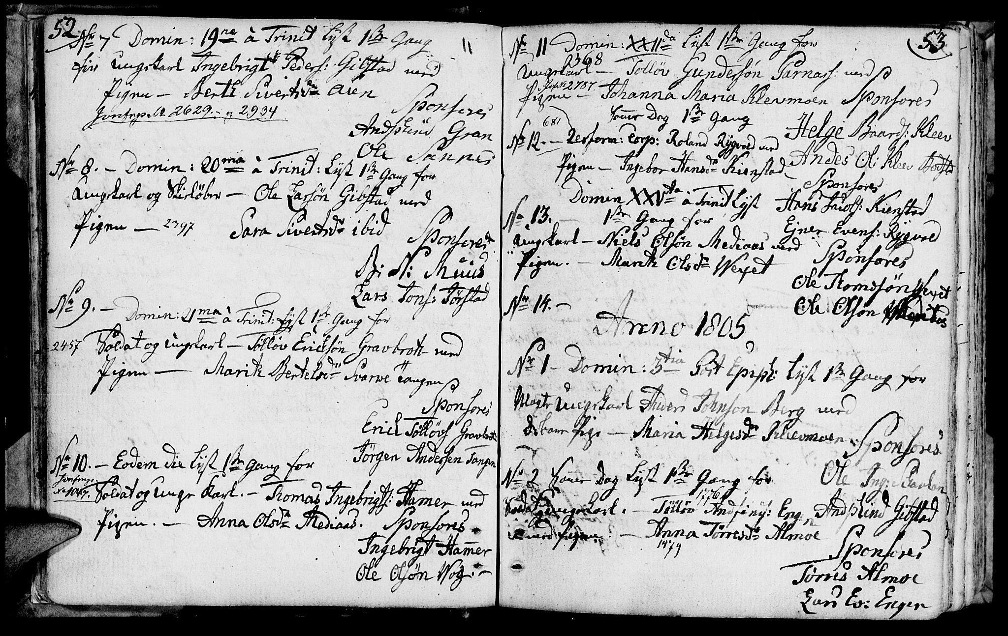 SAT, Ministerialprotokoller, klokkerbøker og fødselsregistre - Nord-Trøndelag, 749/L0468: Ministerialbok nr. 749A02, 1787-1817, s. 52-53