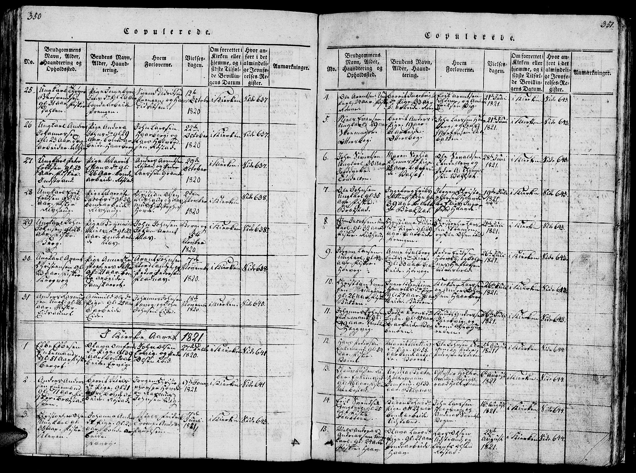 SAT, Ministerialprotokoller, klokkerbøker og fødselsregistre - Sør-Trøndelag, 659/L0744: Klokkerbok nr. 659C01, 1818-1825, s. 350-351
